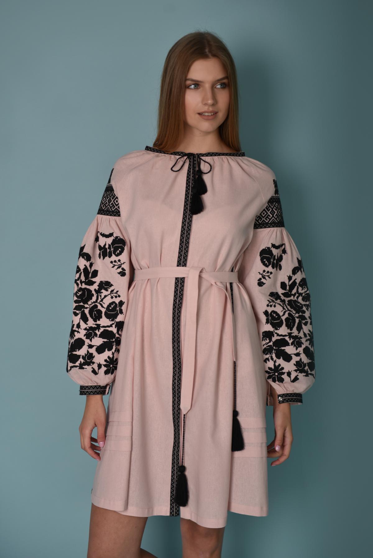 Pink embroidered dress with black embroidery. Photo №3. | Narodnyi dim Ukraine