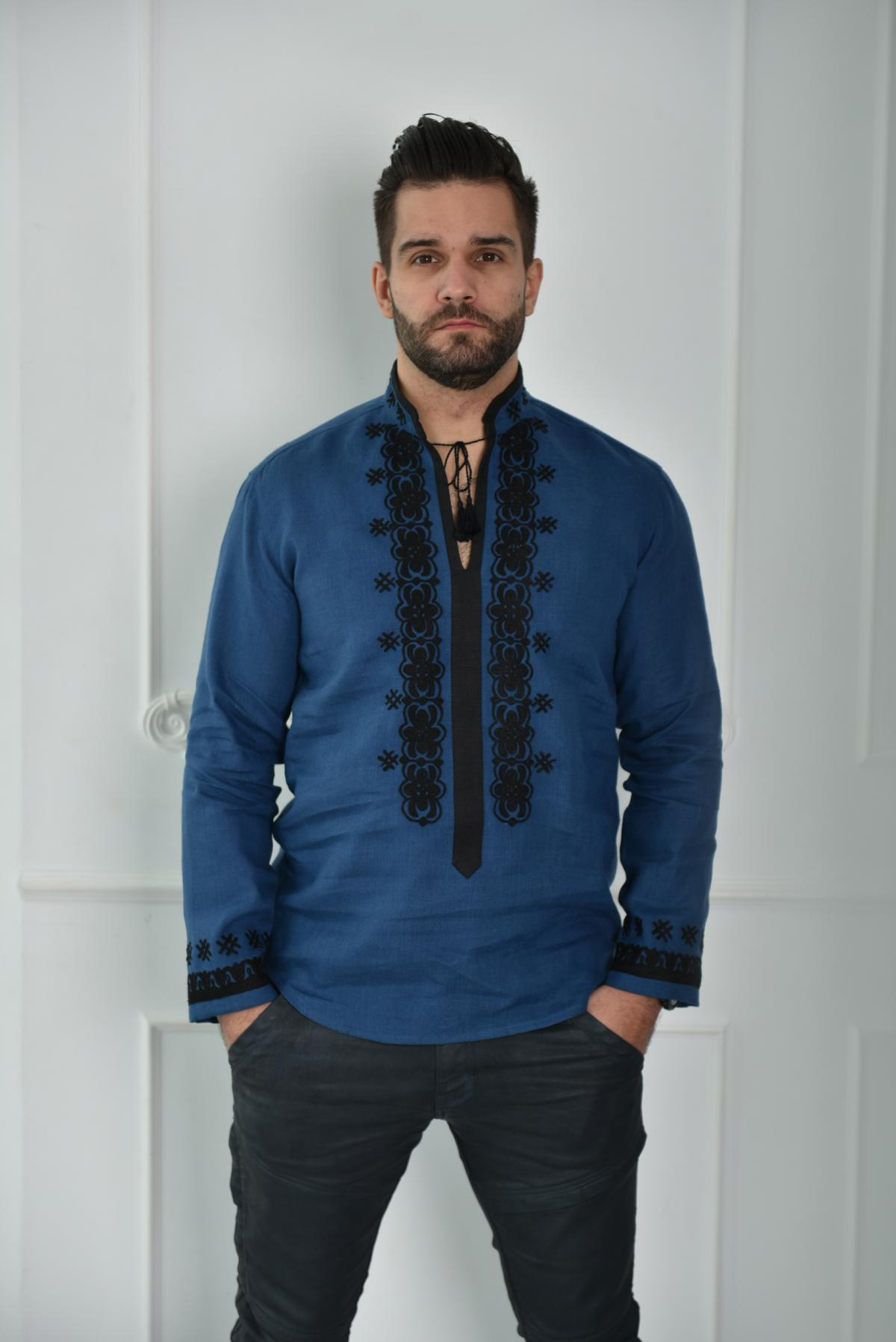 Blue men embroidery with black embroidery. Photo №1. | Narodnyi dim Ukraine