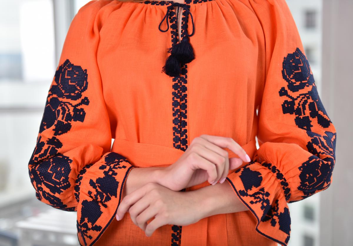 Orange Women's Embroidery. Photo №3. | Narodnyi dim Ukraine