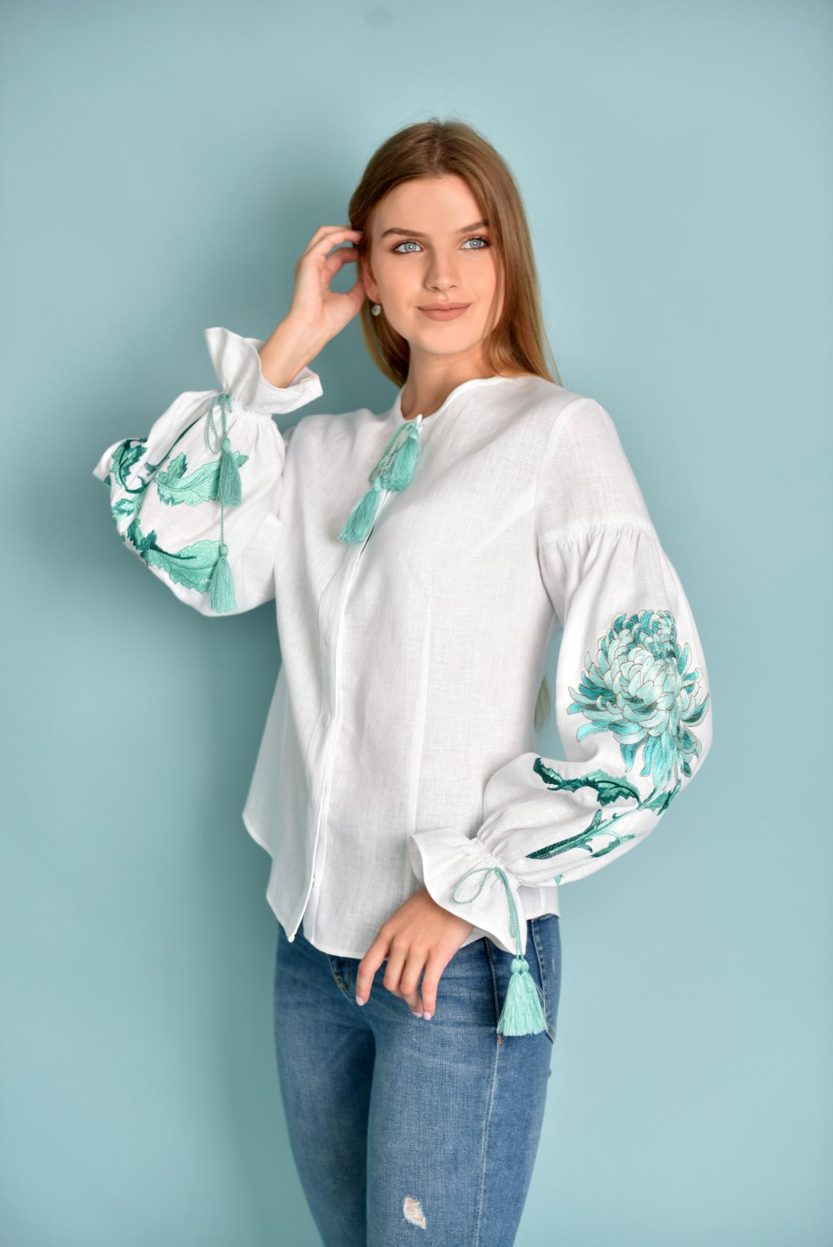 White female embroidered shirt with mint embroidery