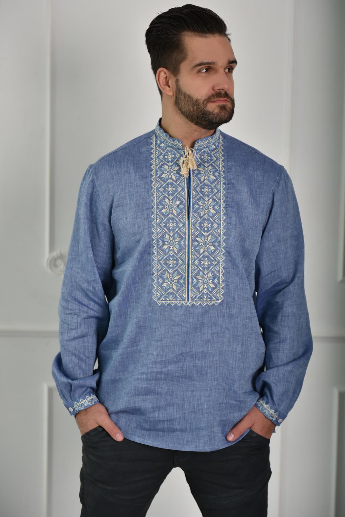 Мужская вышиванка джинсового цвета