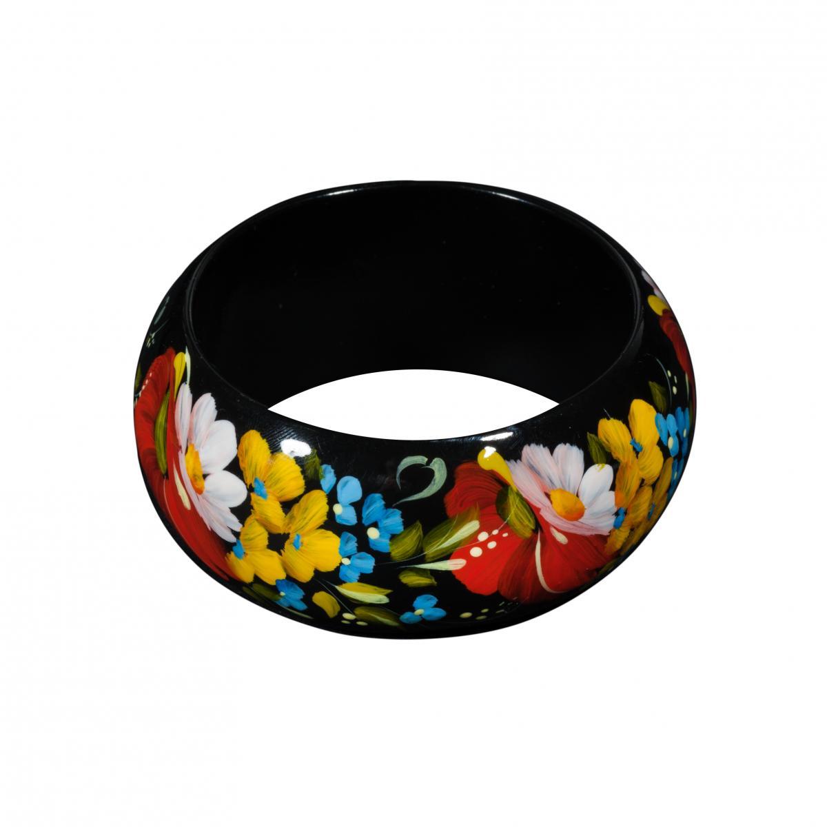 Деревянный браслет с цветочной росписью. Фото №1. | Народный дом Украина