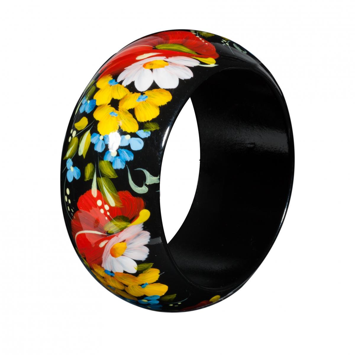 Деревянный браслет с цветочной росписью. Фото №2. | Народный дом Украина