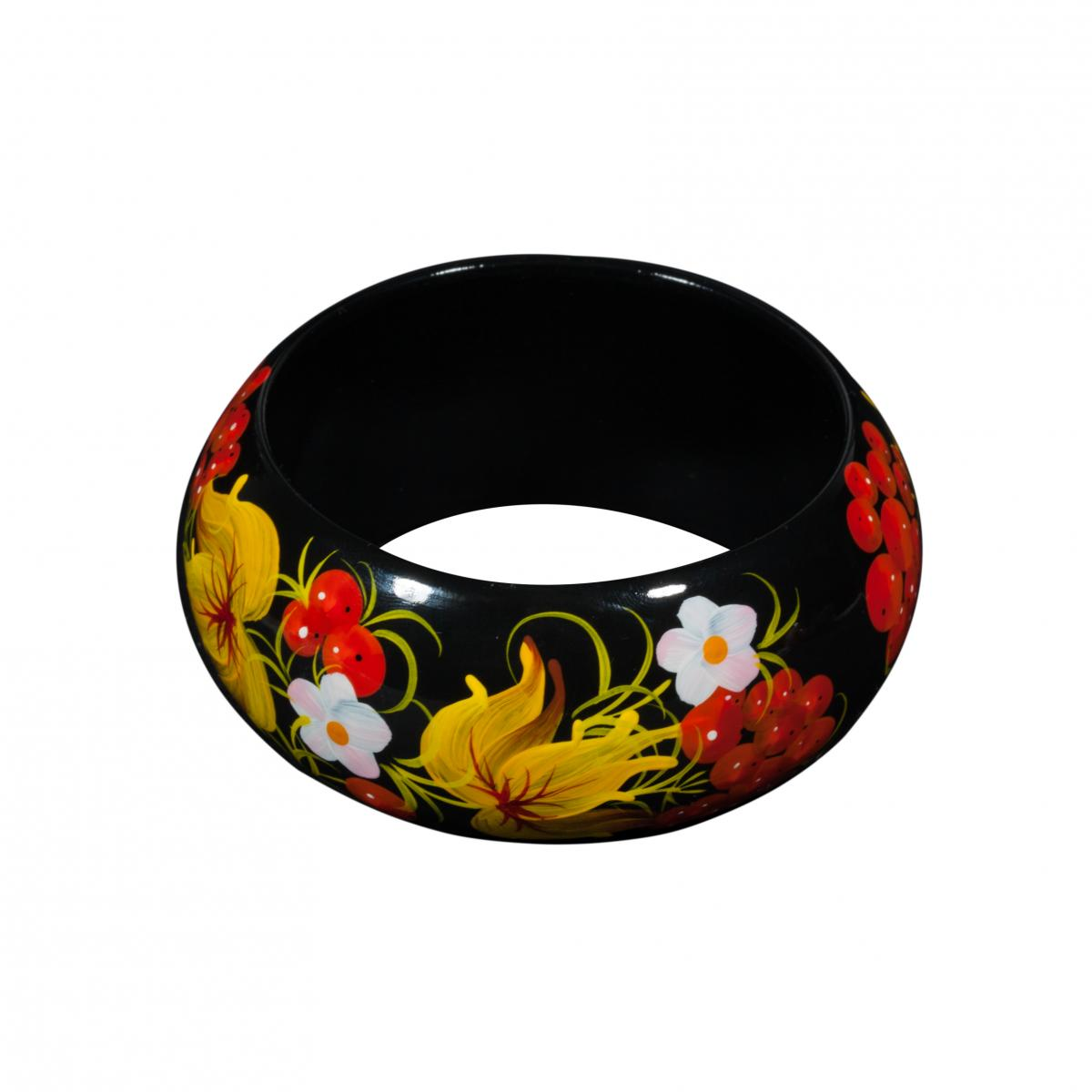 Wooden bracelet with flower painting