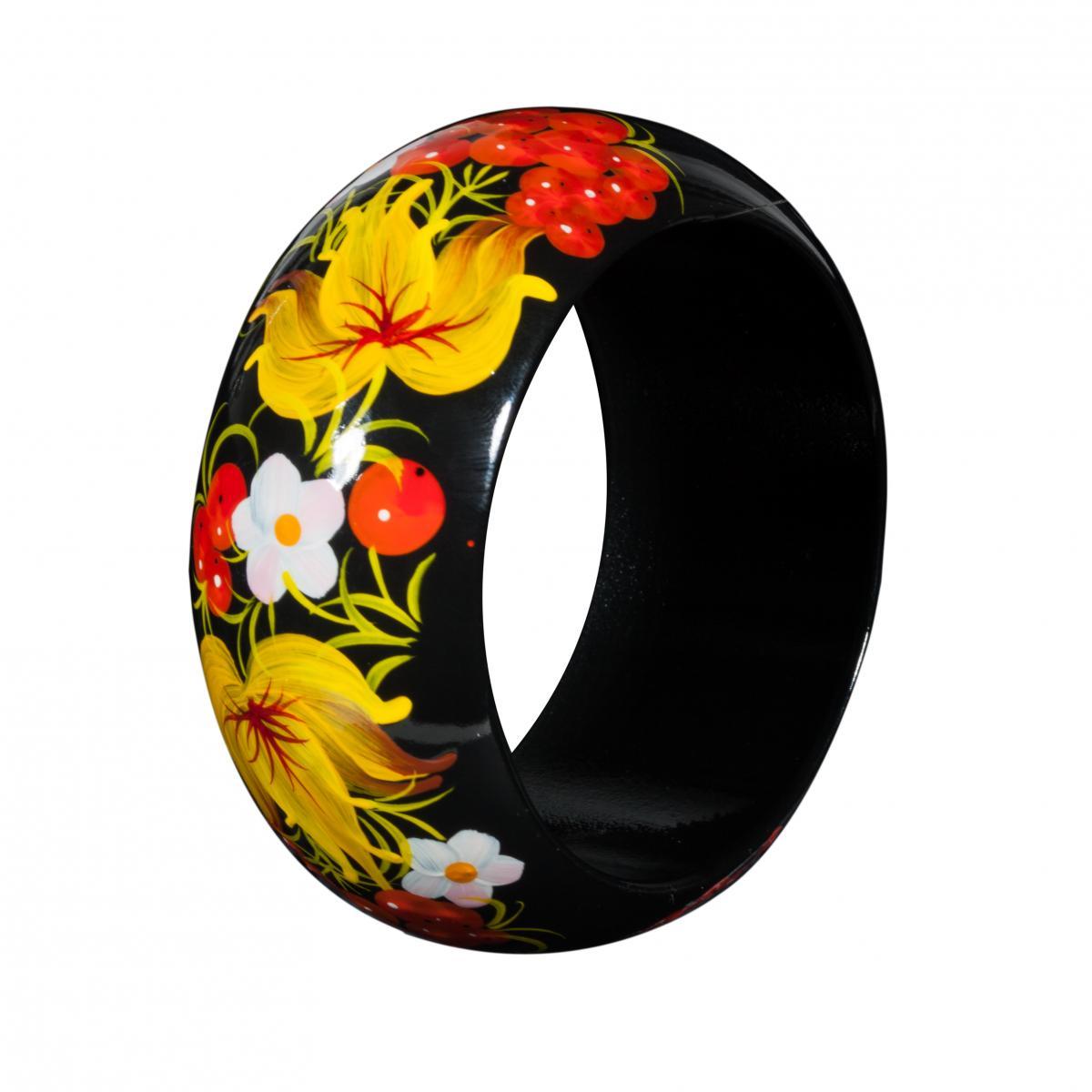 Деревянный браслет с цветочной росписью. Фото №2.   Народный дом Украина