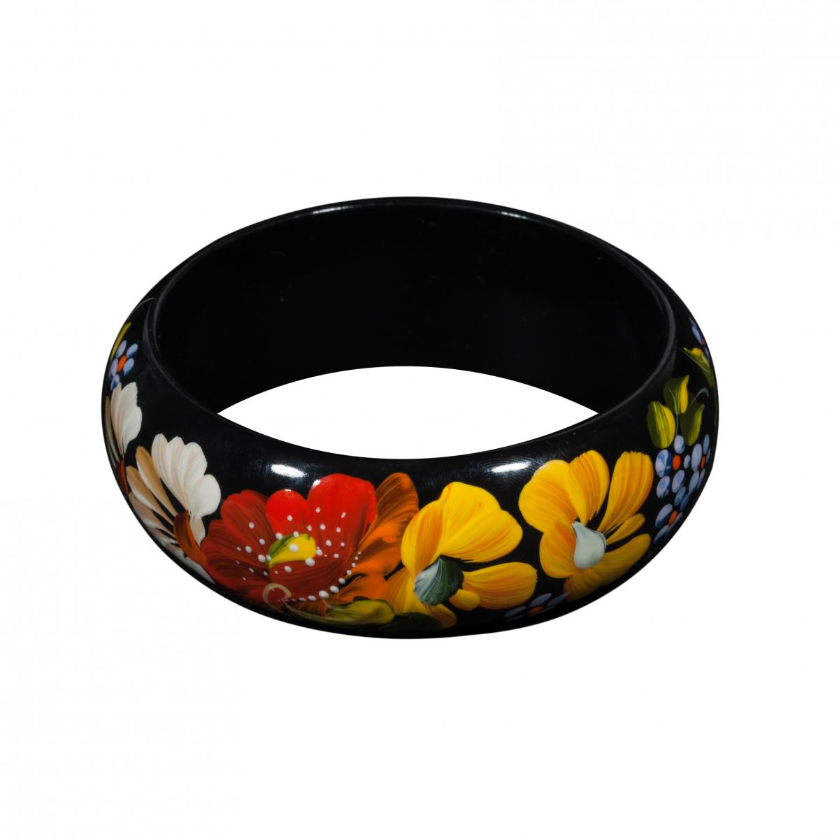 Wooden bracelet with flower painting. Photo №1. | Narodnyi dim Ukraine
