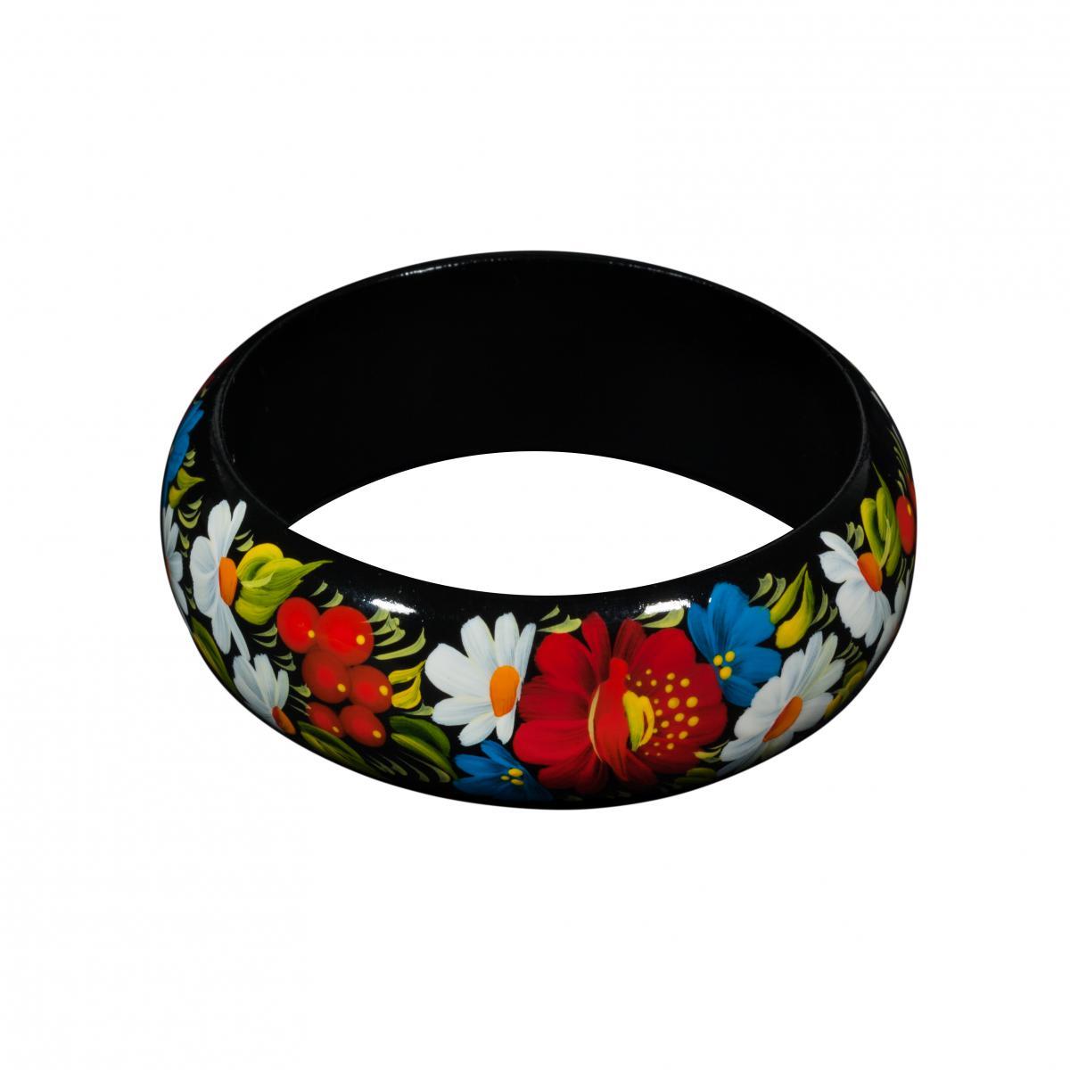 Wooden bracelet with flower painting. Photo №1. | Narodnyi dim Ukraine