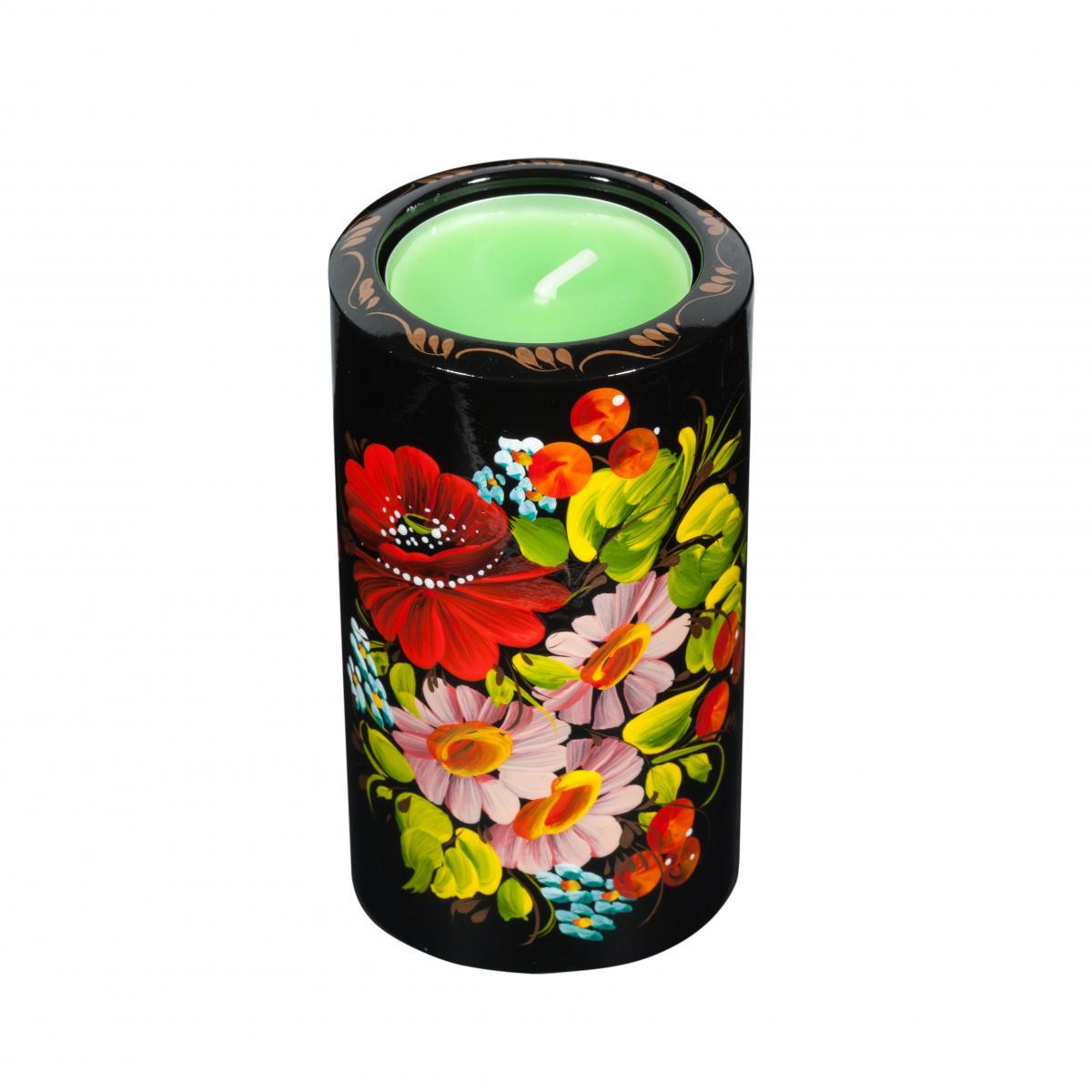 Candle tumbler with Petrikivskiy painting