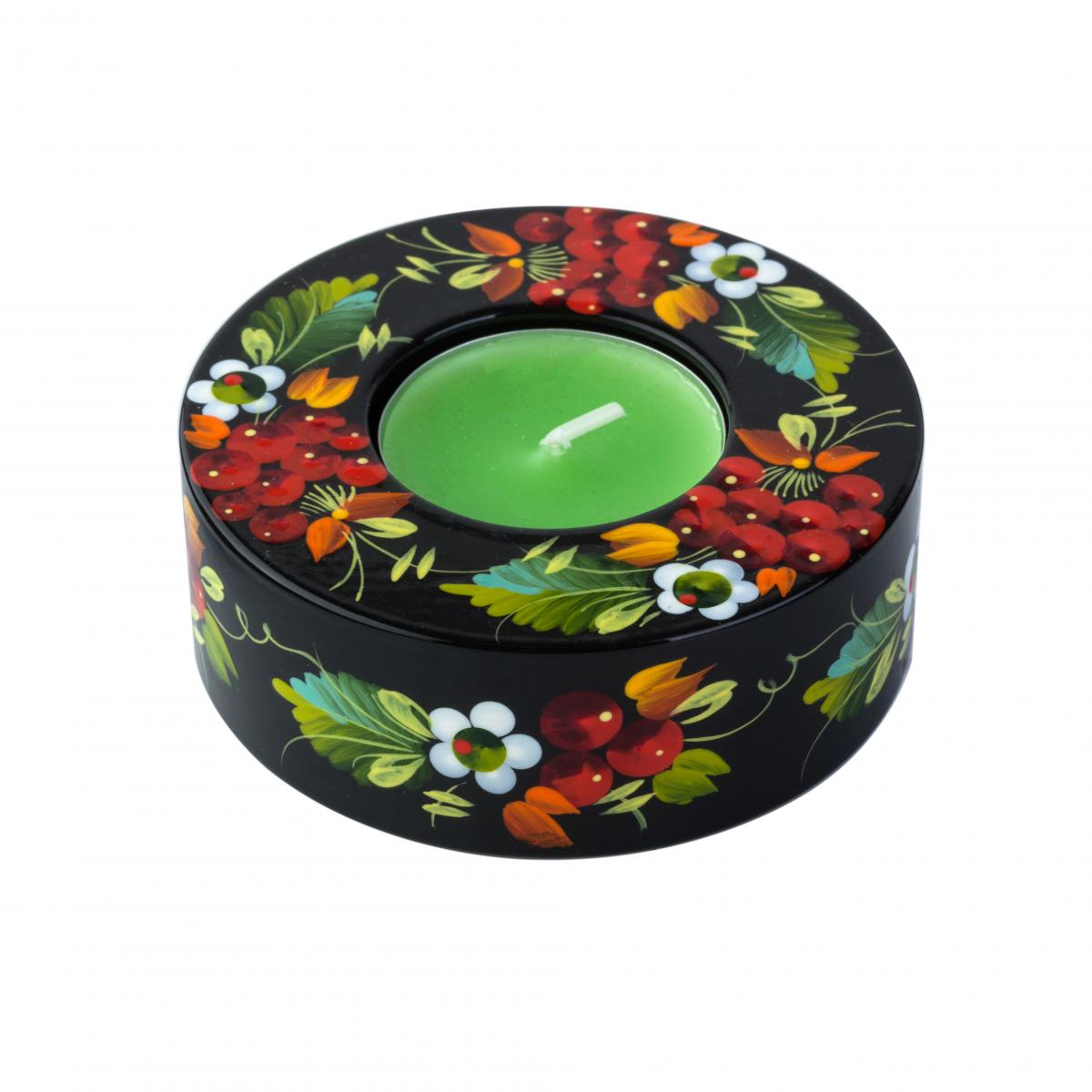 Round candle holder with a national color pattern (in assortment). Photo №4. | Narodnyi dim Ukraine