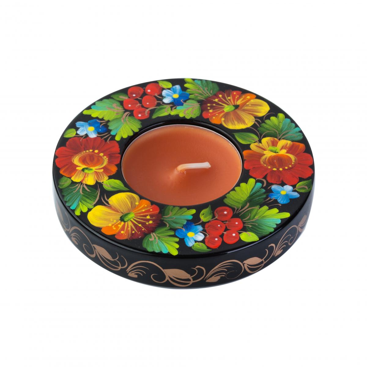Round candle holder on the stand with a national color pattern (in assortment). Photo №4. | Narodnyi dim Ukraine