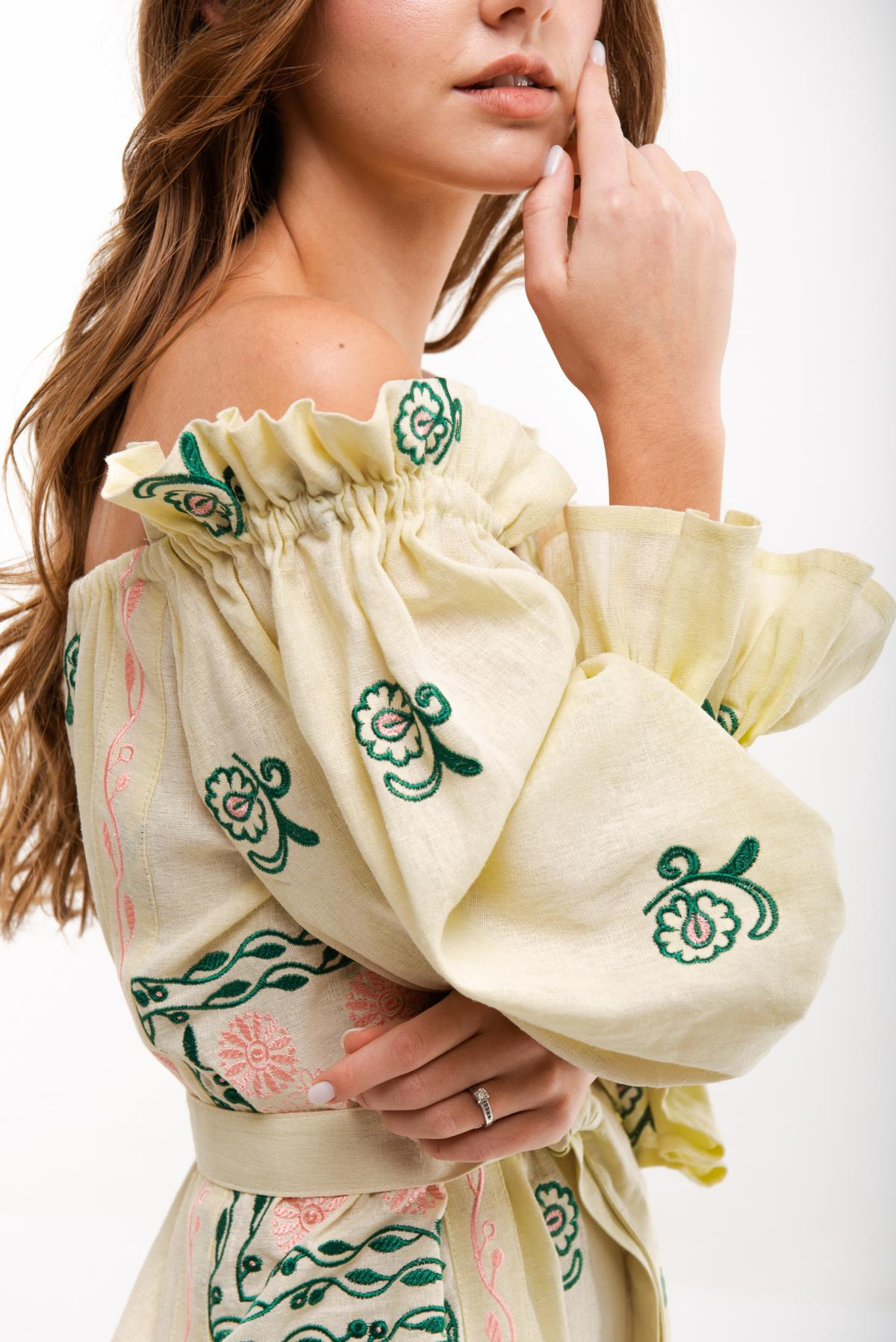 Embroidered dress Barvinok yellow. Photo №3. | Narodnyi dim Ukraine