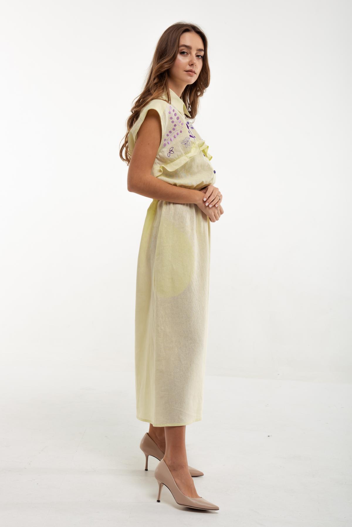 Вышитое платье Соцветия желтое. Фото №2. | Народный дом Украина