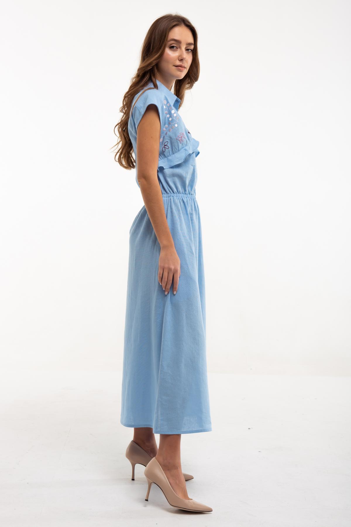 Dress with embroidery Sutsvittya light blue. Photo №2. | Narodnyi dim Ukraine