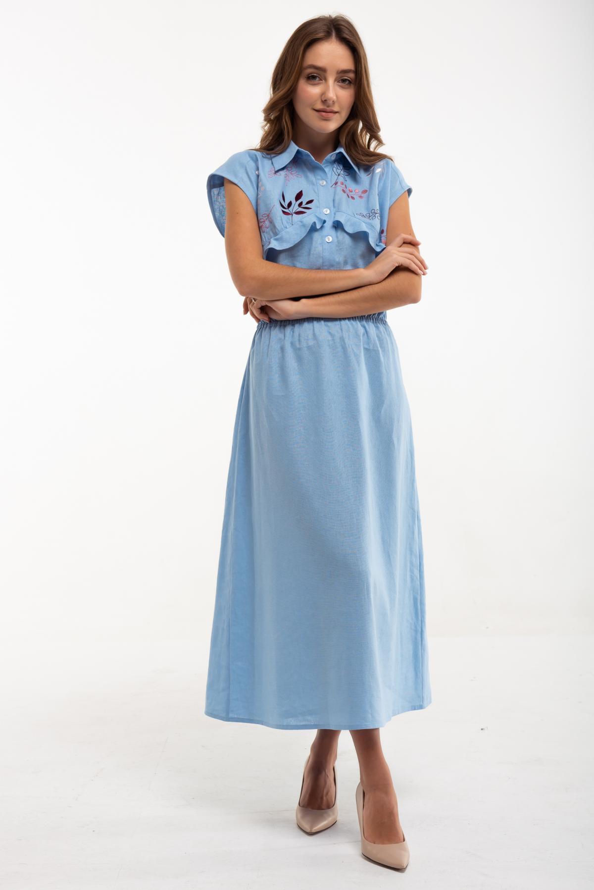 Dress with embroidery Sutsvittya light blue. Photo №1. | Narodnyi dim Ukraine