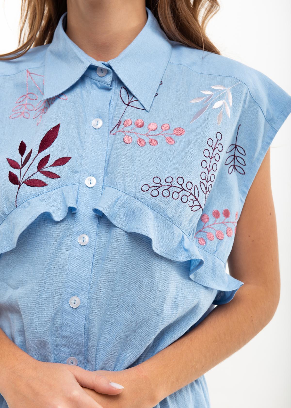 Dress with embroidery Sutsvittya light blue. Photo №4. | Narodnyi dim Ukraine