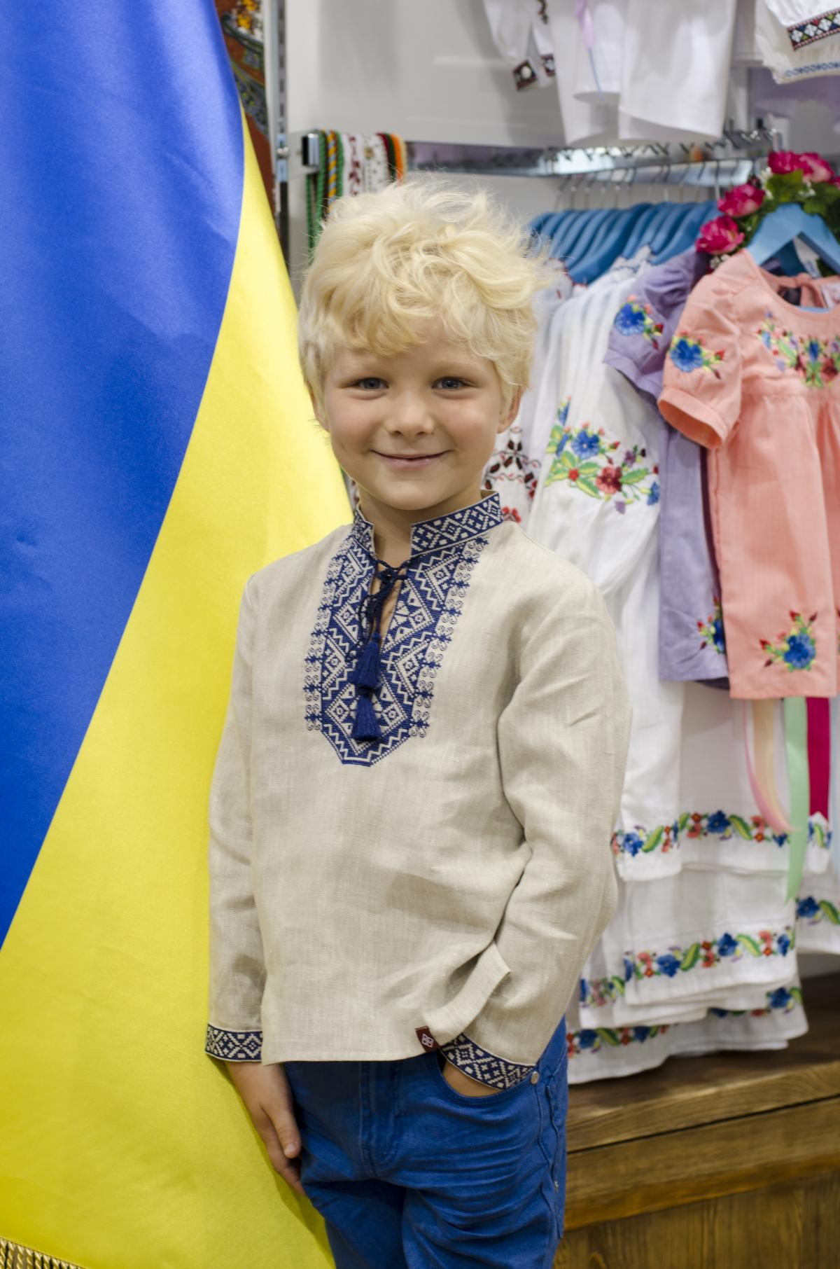 Embroidery for a boy with a blue embroidery. Photo №1. | Narodnyi dim Ukraine