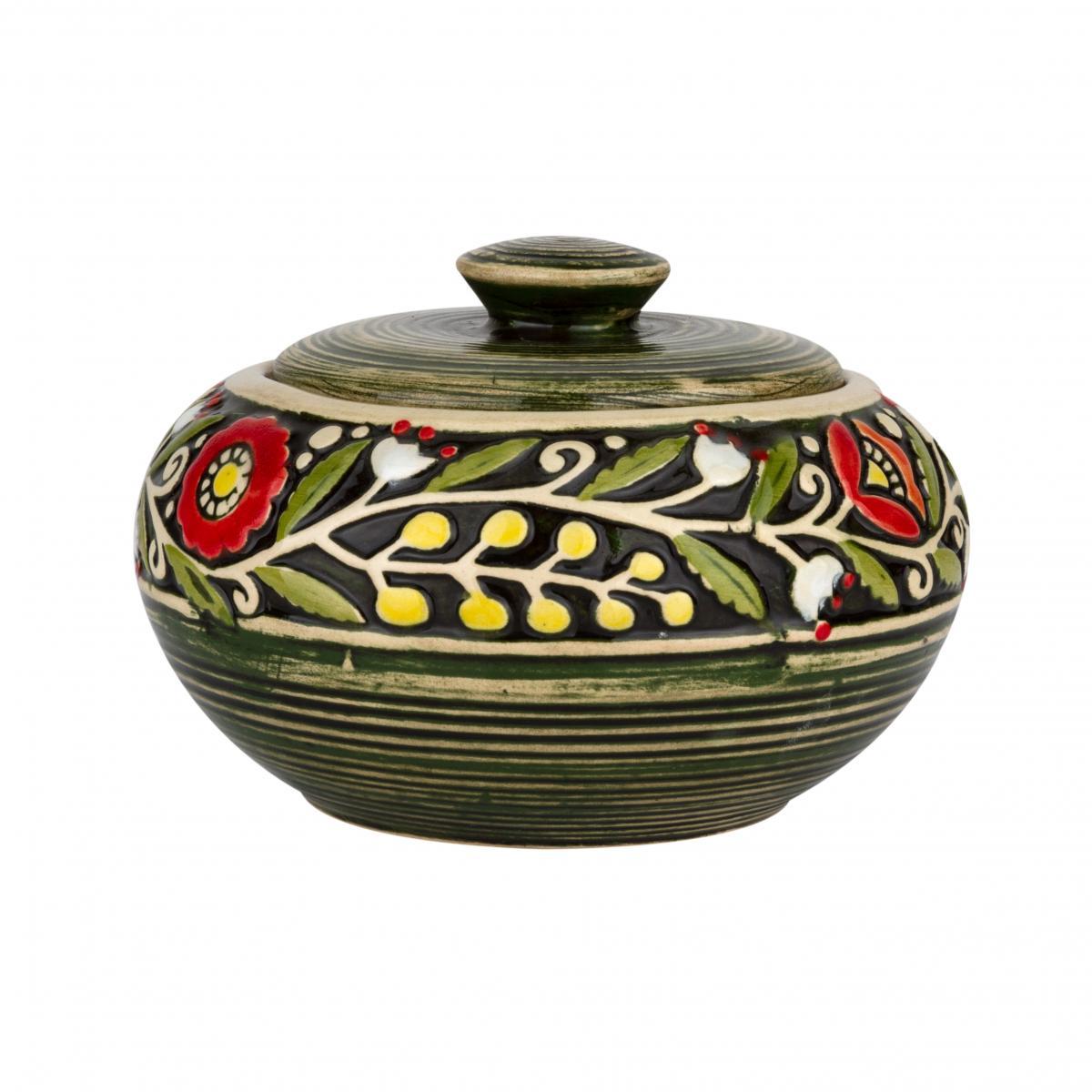 Green sugar bowl. Photo №1. | Narodnyi dim Ukraine