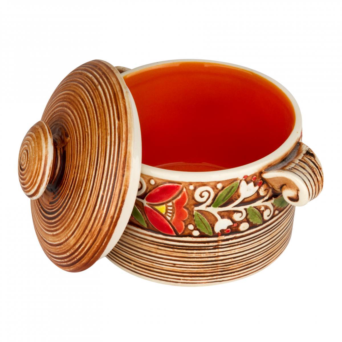Керамическая кастрюлька оранжевая. Фото №2. | Народный дом Украина