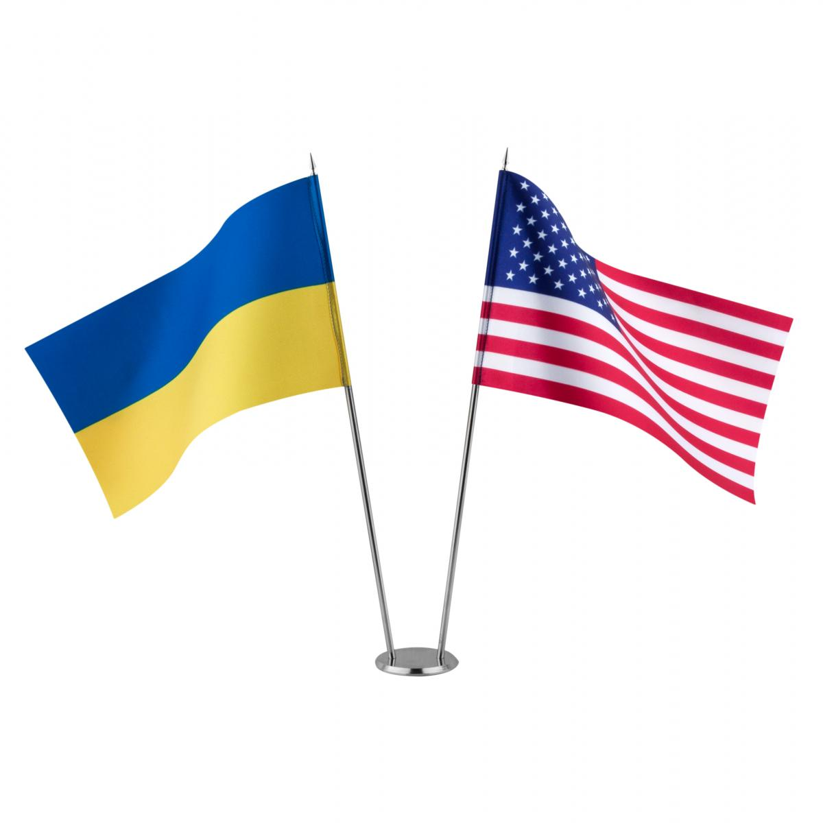 Flags of Ukraine and the United States on the stand