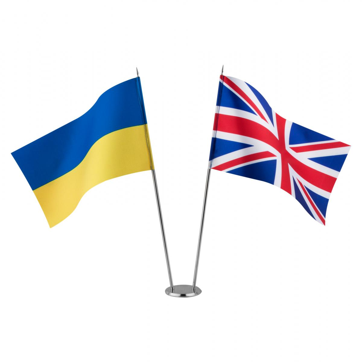 Flags of Ukraine and Great Britain on the stand