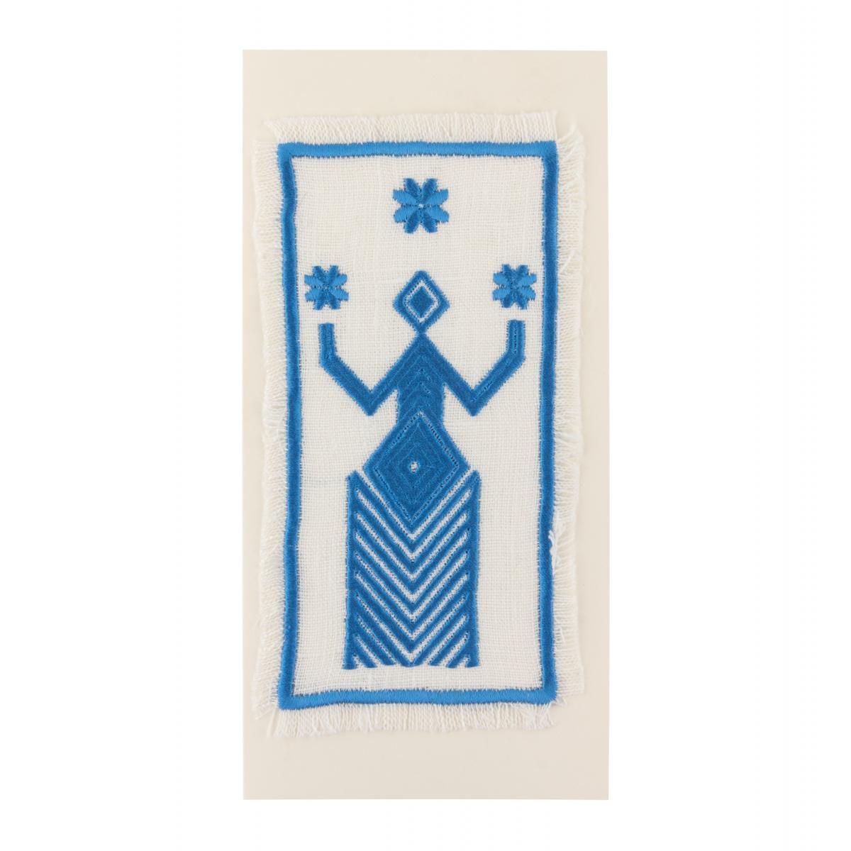 Postcard with bright blue embroidery. Photo №1. | Narodnyi dim Ukraine