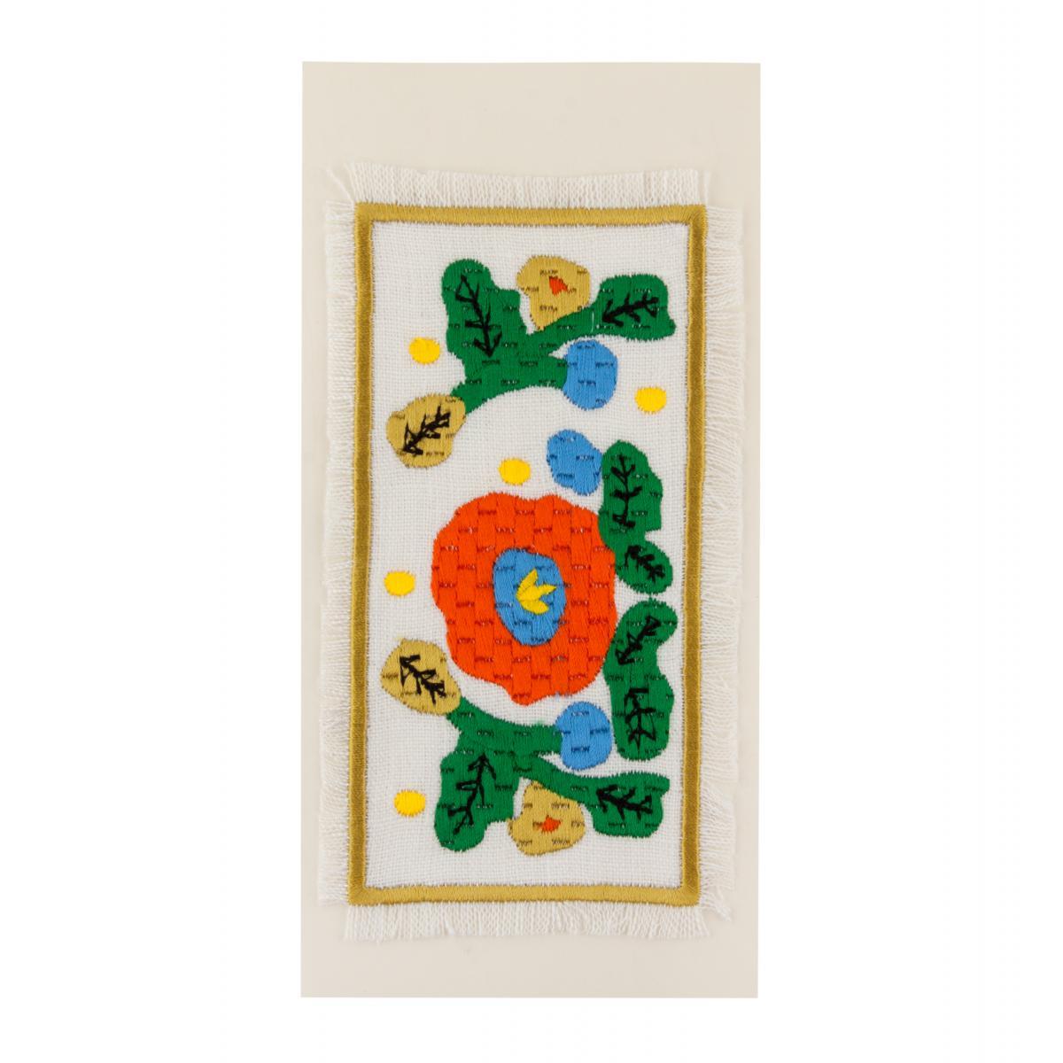 Postcard with embroidered red flower. Photo №1. | Narodnyi dim Ukraine