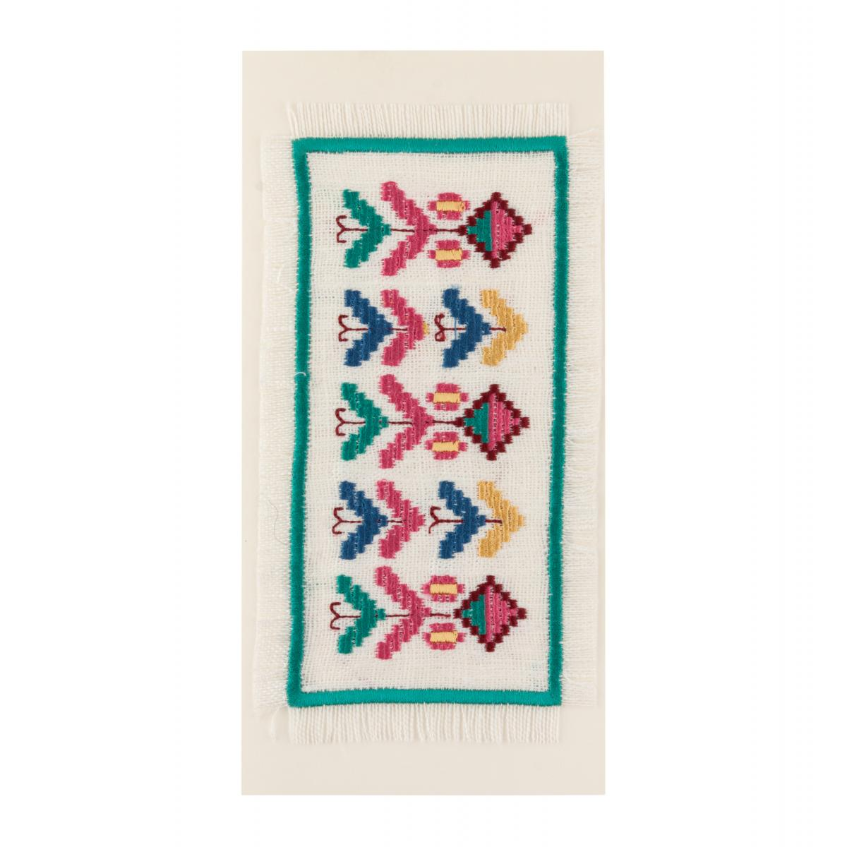 Postcard with red, green, blue and yellow embroidered pattern. Photo №1. | Narodnyi dim Ukraine