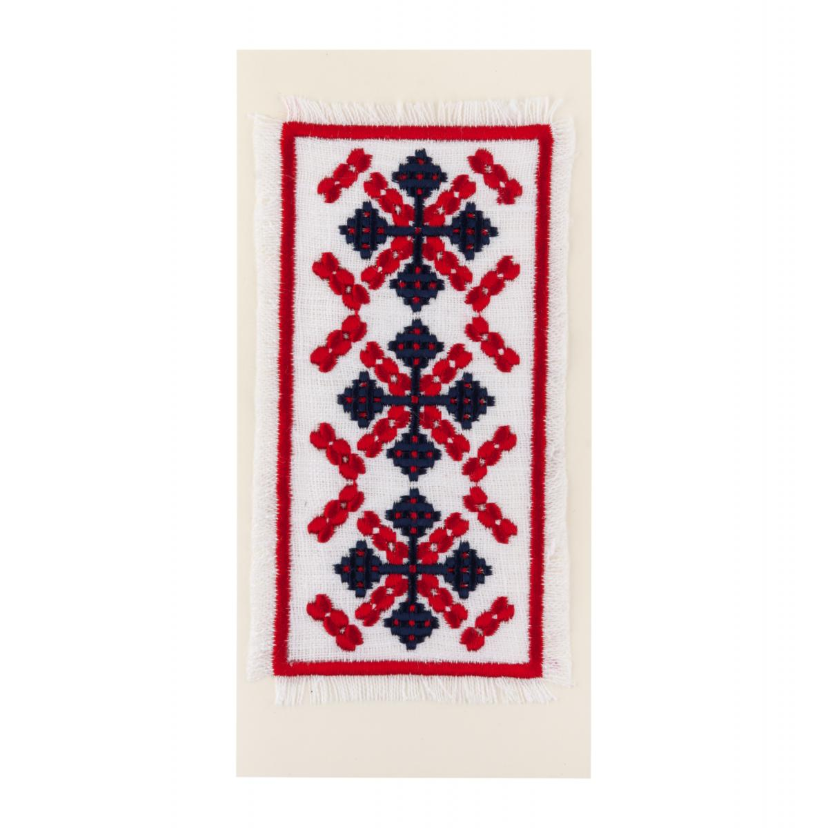 Postcard with embroidered red-black pattern. Photo №1. | Narodnyi dim Ukraine