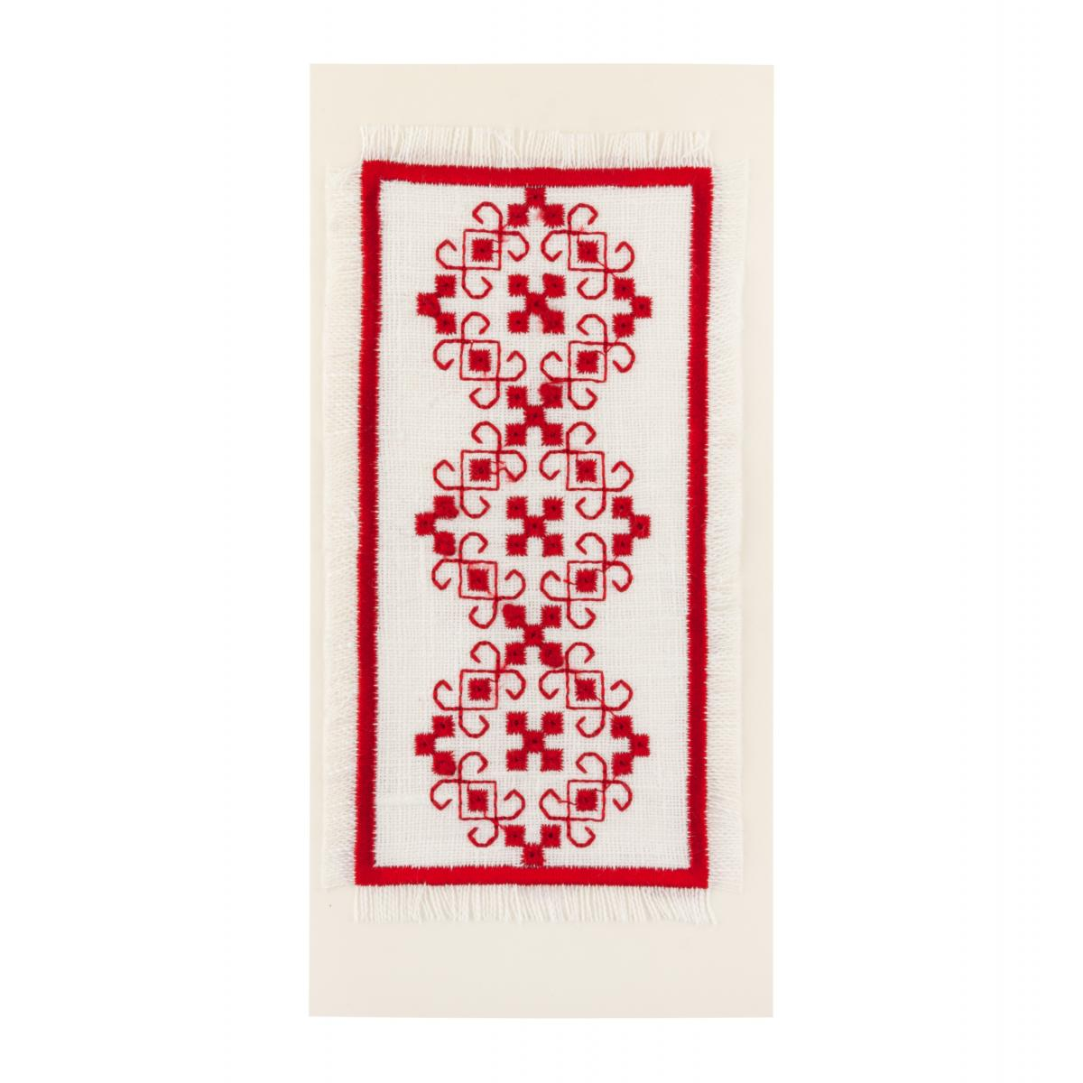 Postcard with a red embroidered pattern. Photo №1. | Narodnyi dim Ukraine