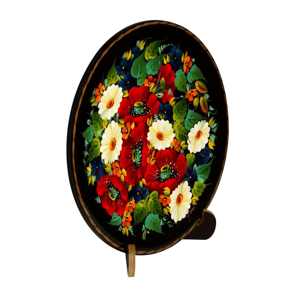 Деревянная декоративная тарелка с ручной росписью. Фото №1.   Народный дом Украина