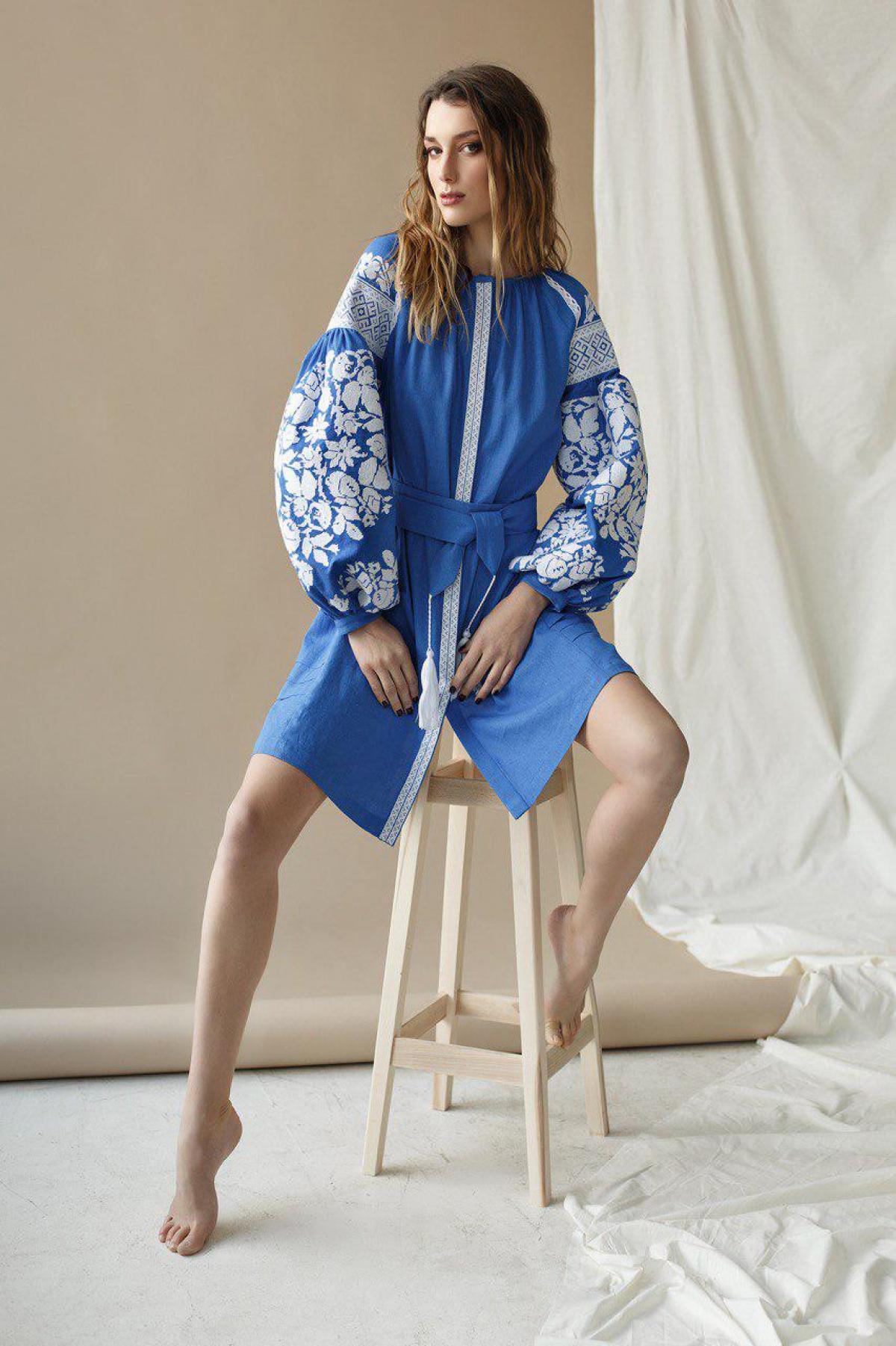 Female tender embroidered dress from a blue flax. Photo №1. | Narodnyi dim Ukraine