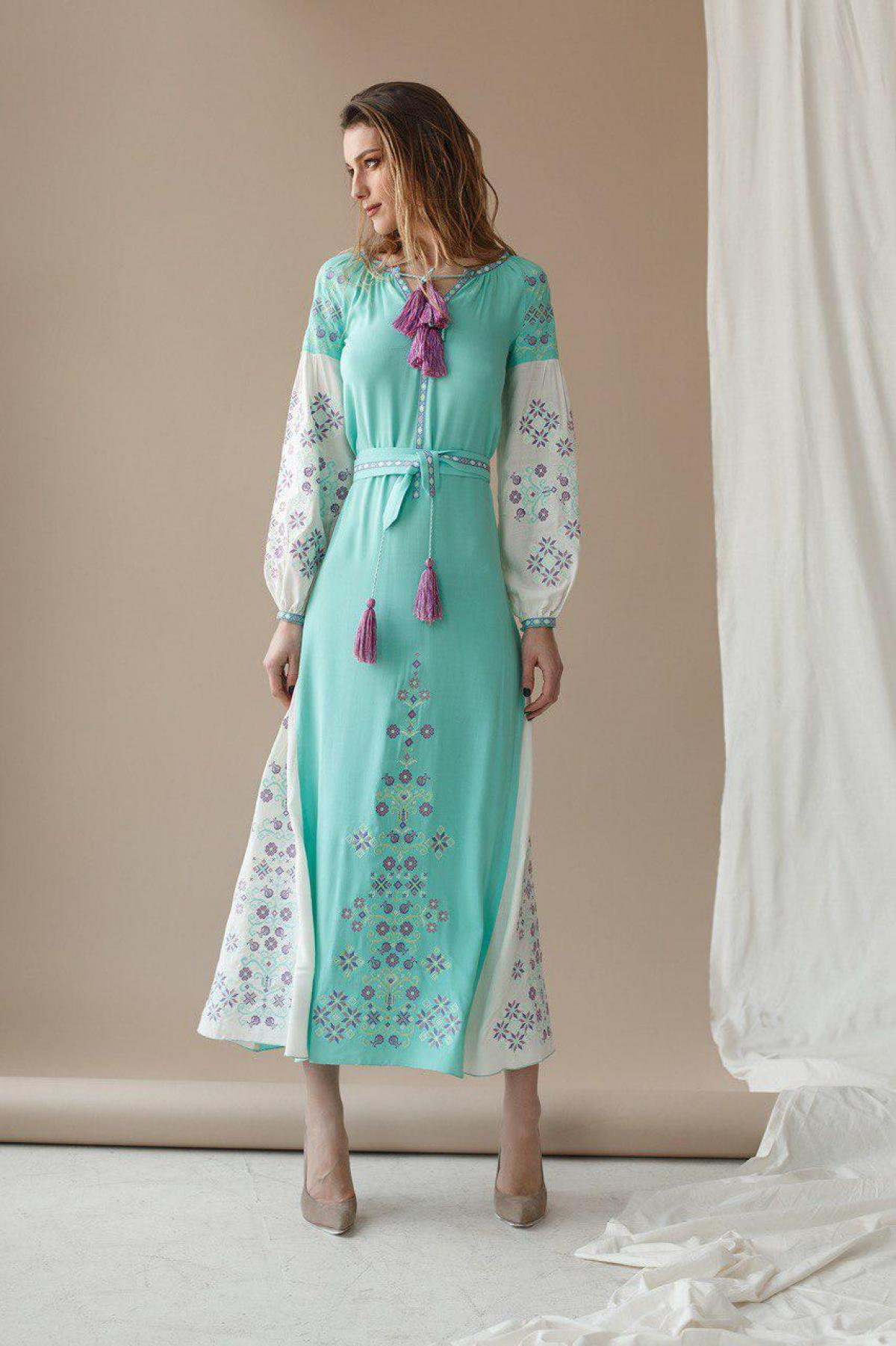 Mint dress with spectacular embroidery. Photo №1. | Narodnyi dim Ukraine
