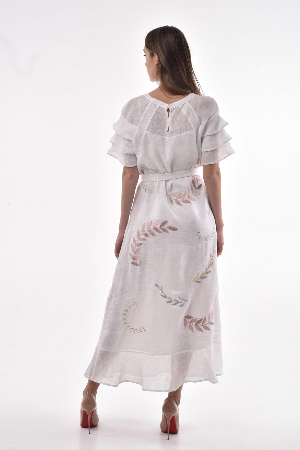 White linen dress with a delicate embroidery in the form of leaflets. Photo №2. | Narodnyi dim Ukraine
