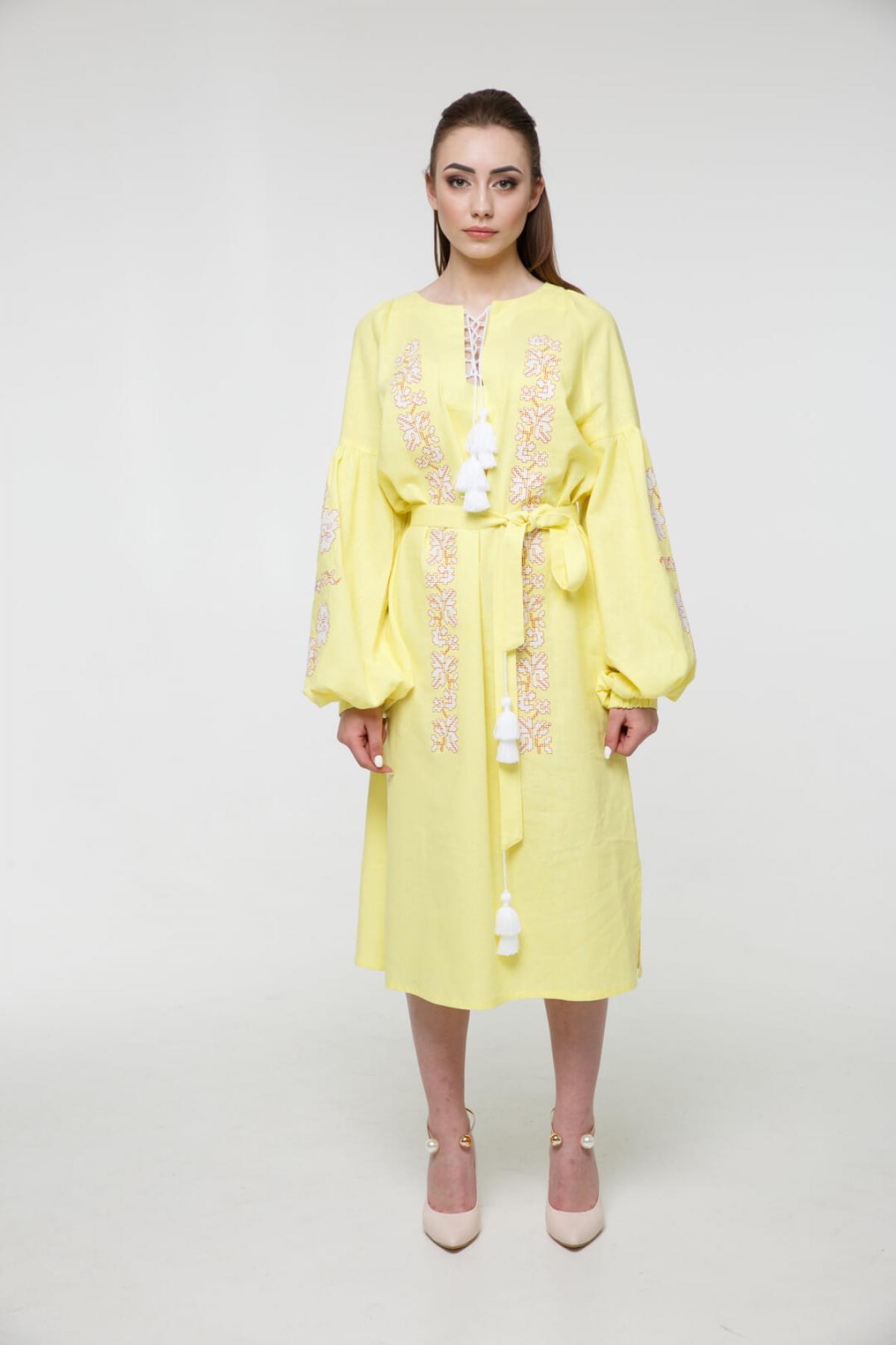 Gently-yellow embroidered midi-dress. Photo №2. | Narodnyi dim Ukraine