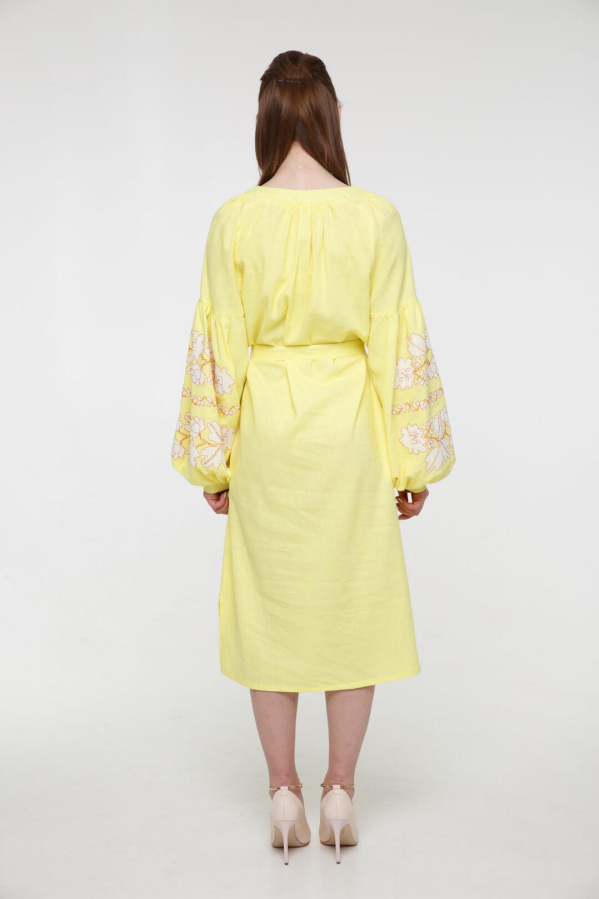 Gently-yellow embroidered midi-dress. Photo №3. | Narodnyi dim Ukraine