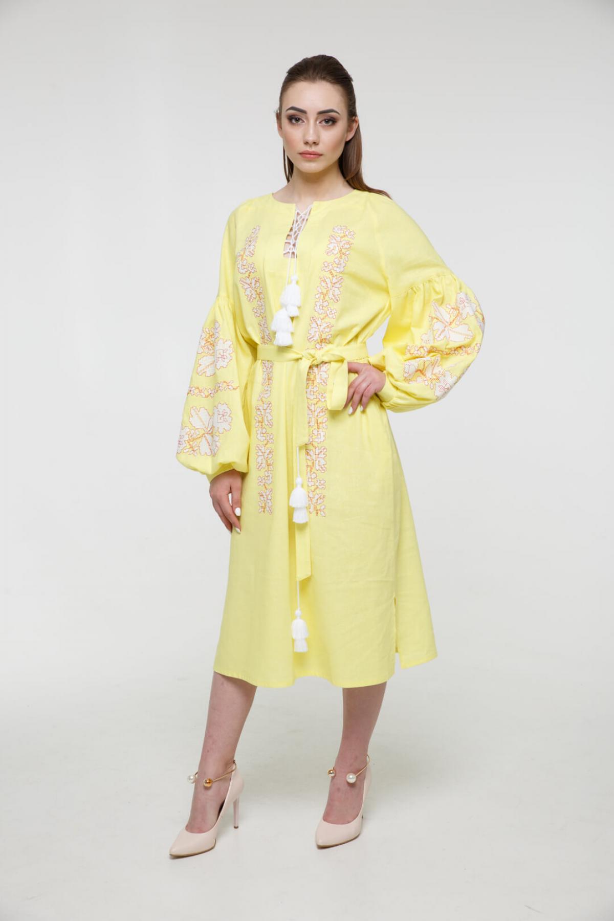Gently-yellow embroidered midi-dress. Photo №1. | Narodnyi dim Ukraine