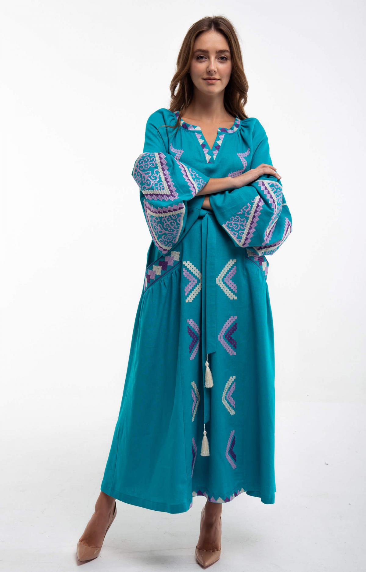 Embroidered long dress of turquoise color. Photo №1. | Narodnyi dim Ukraine