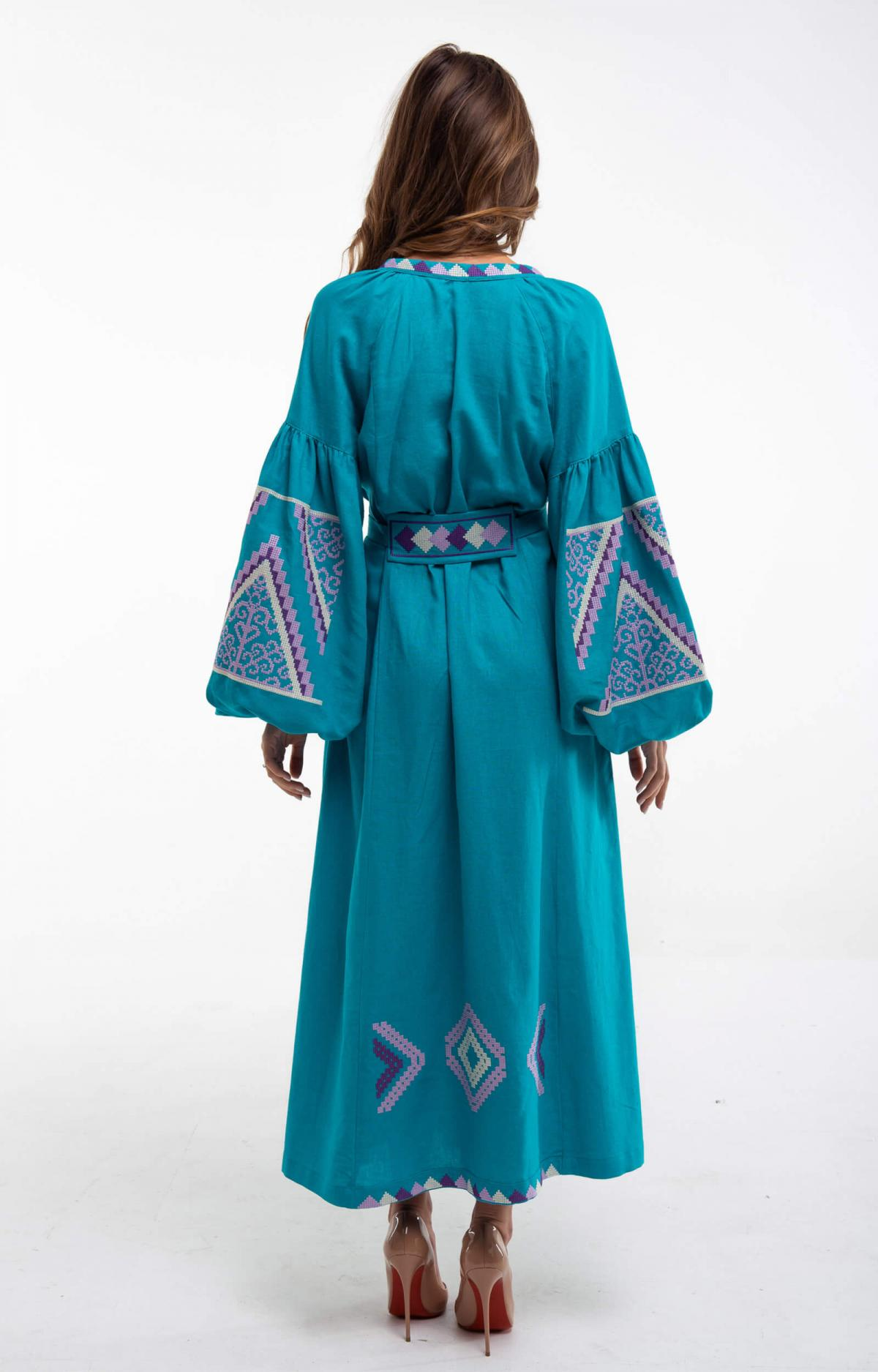 Embroidered long dress of turquoise color. Photo №3. | Narodnyi dim Ukraine