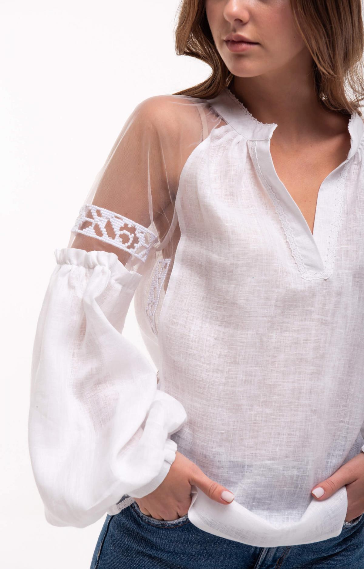 Рубашка белая с легкими нежными рукавами. Фото №3. | Народный дом Украина