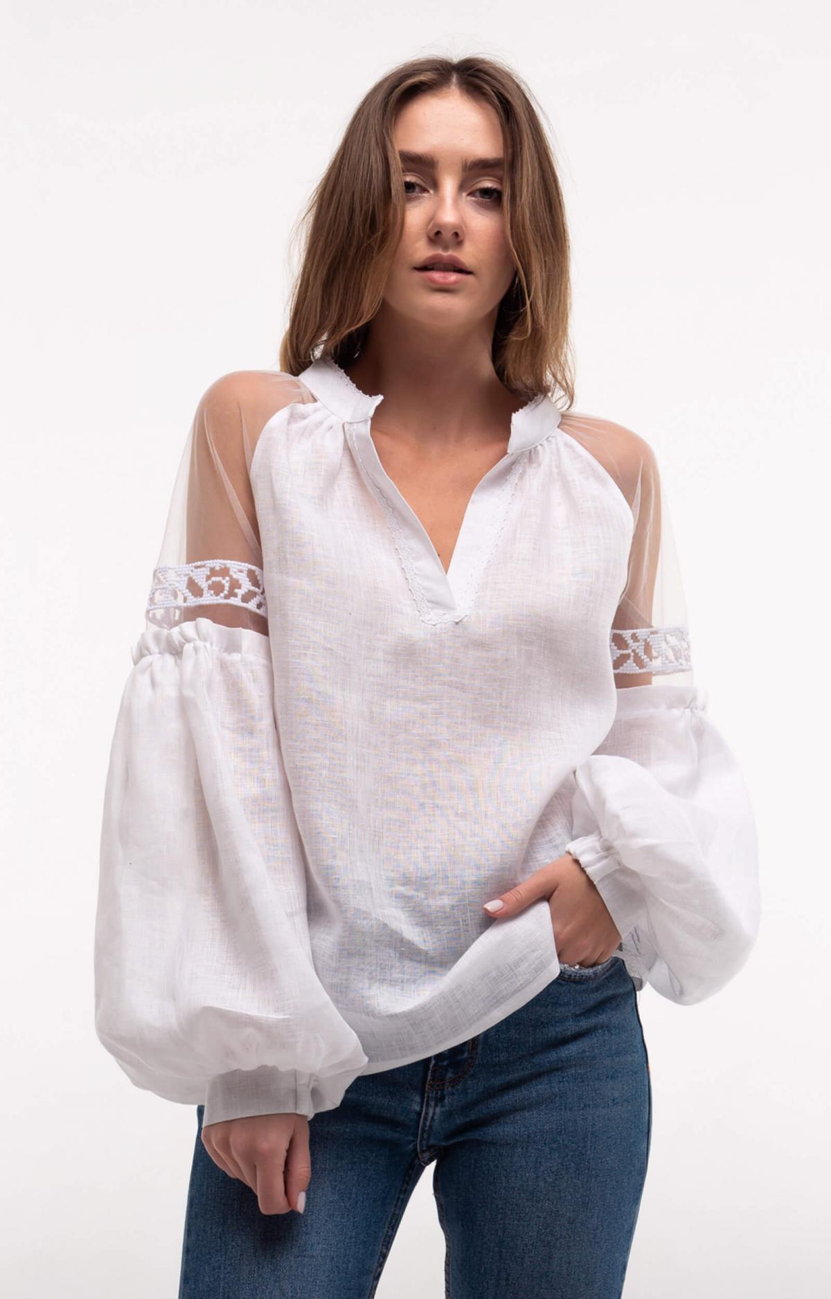 Рубашка белая с легкими нежными рукавами. Фото №1. | Народный дом Украина