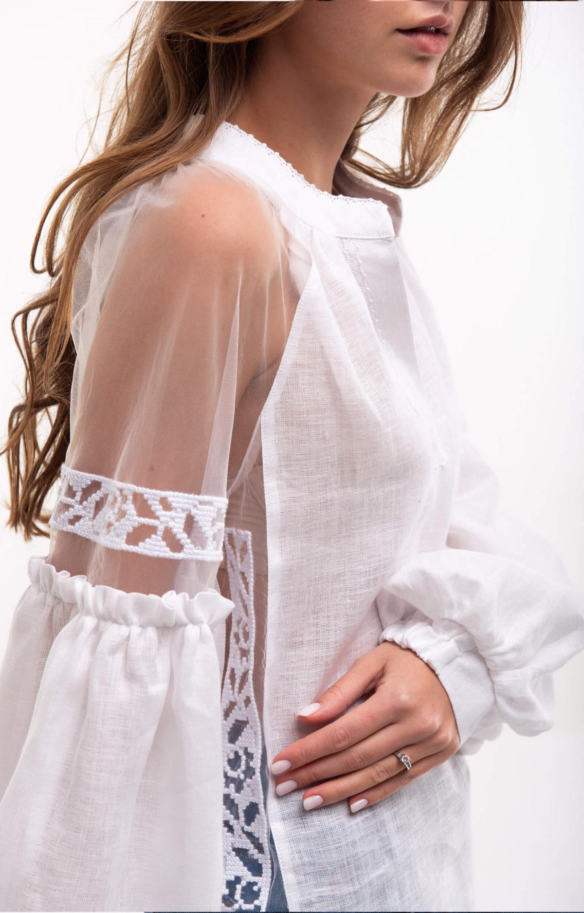 Рубашка белая с легкими нежными рукавами. Фото №2. | Народный дом Украина