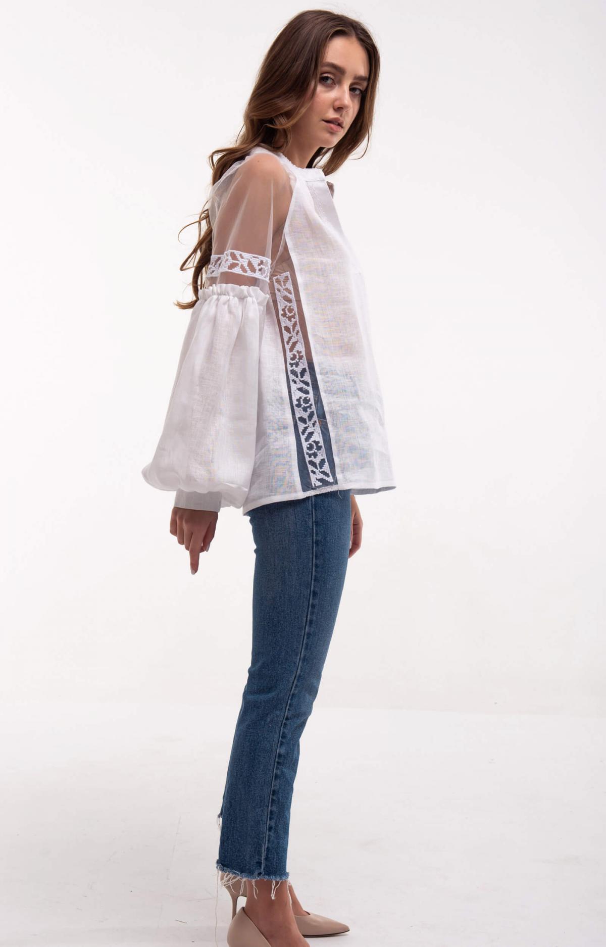 Рубашка белая с легкими нежными рукавами. Фото №5. | Народный дом Украина