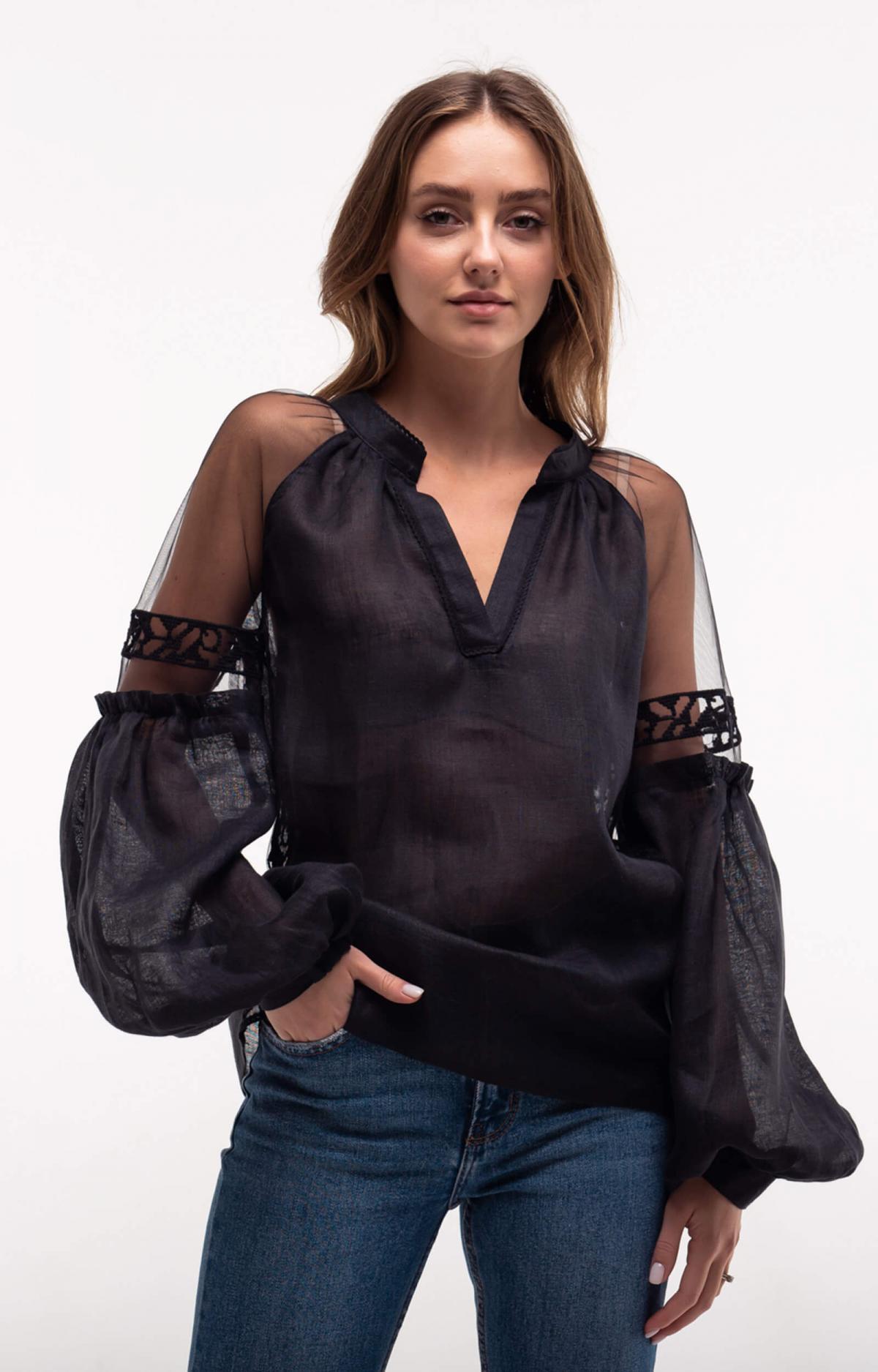 Black embroidery with light soft sleeves. Photo №2. | Narodnyi dim Ukraine