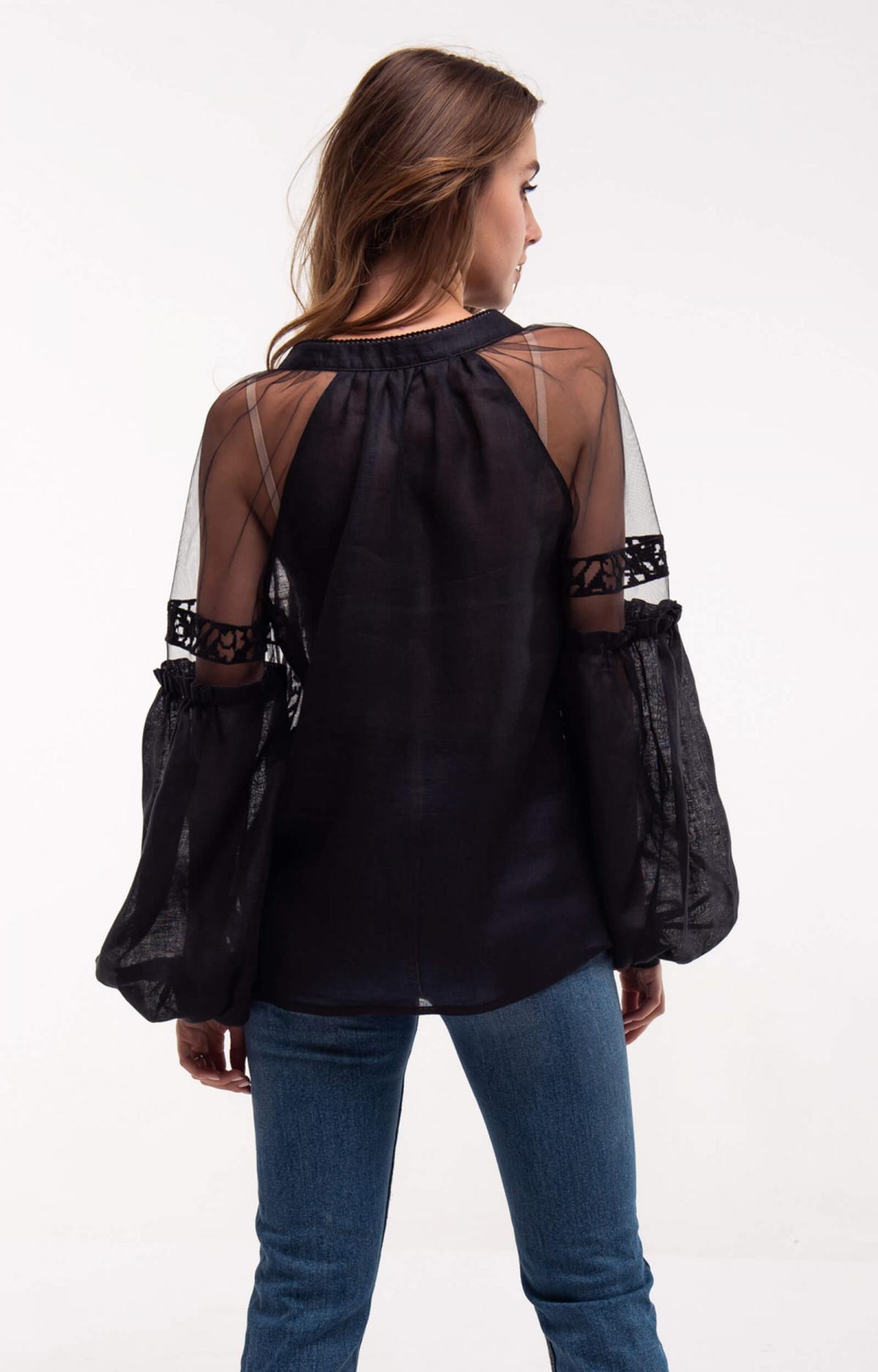 Black embroidery with light soft sleeves. Photo №3. | Narodnyi dim Ukraine