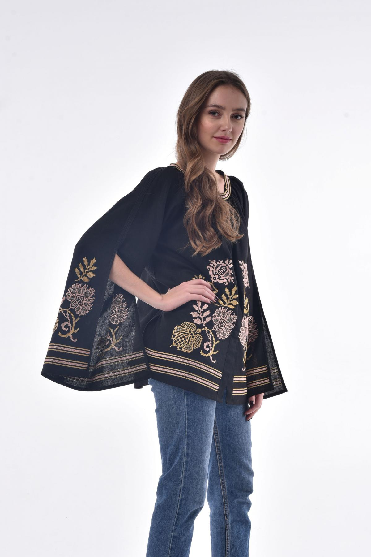 Black embroidery with luscious sleeves with a cut. Photo №2. | Narodnyi dim Ukraine