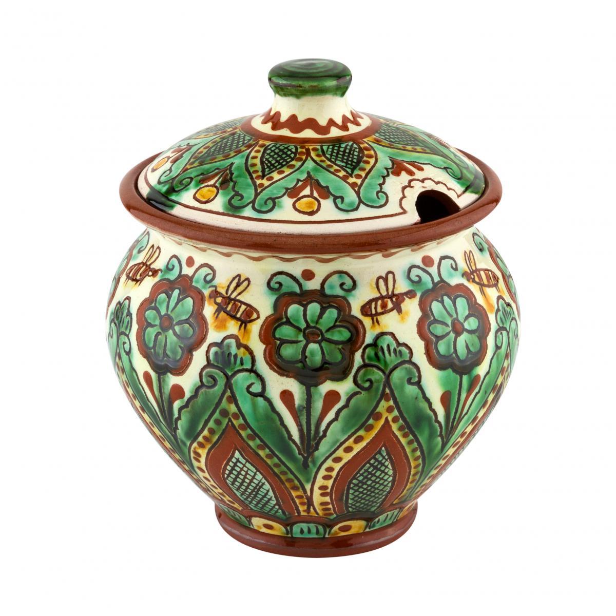 Горщик з кераміки ручної роботи з рослинним візерунком
