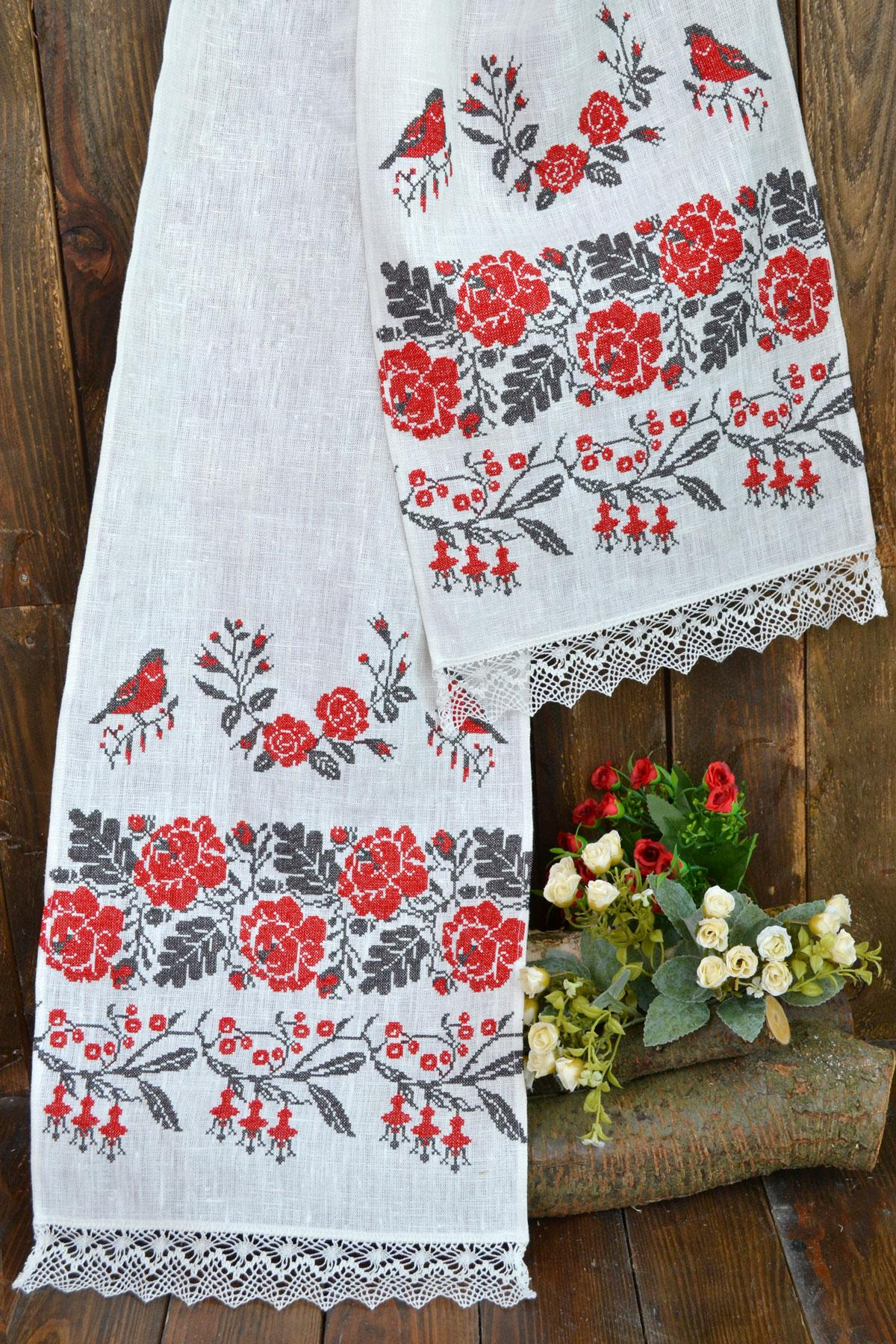 Wedding towel with birds and flowers embroidered with red threads. Photo №1. | Narodnyi dim Ukraine