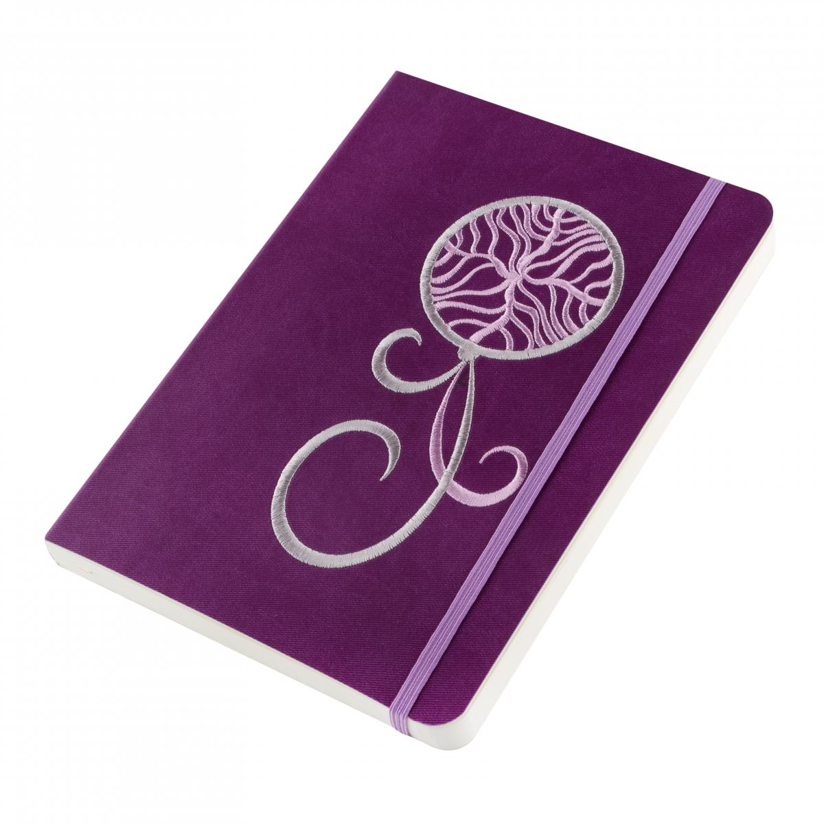Eco-leather notebook with embroidered Dream catcher, violet. Photo №2. | Narodnyi dim Ukraine