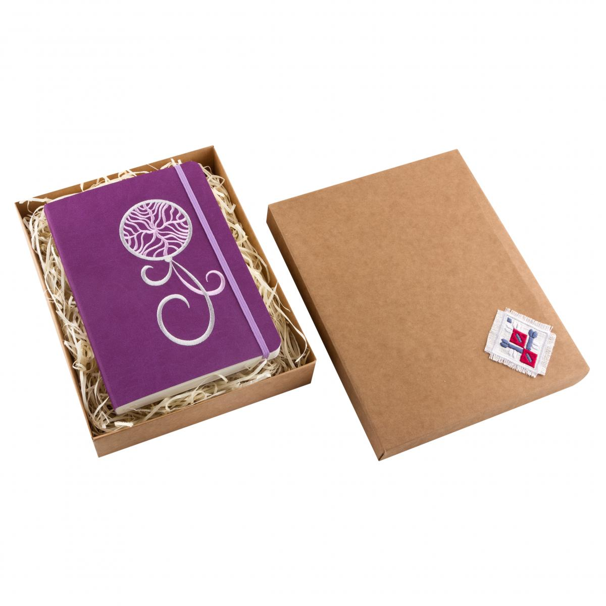 Eco-leather notebook with embroidered Dream catcher, violet. Photo №3. | Narodnyi dim Ukraine