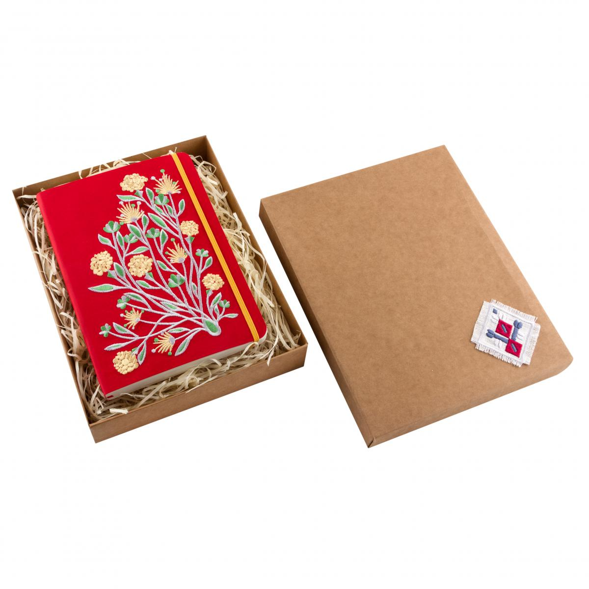 Eco-leather notebook with embroidery Elven flower, red. Photo №3. | Narodnyi dim Ukraine